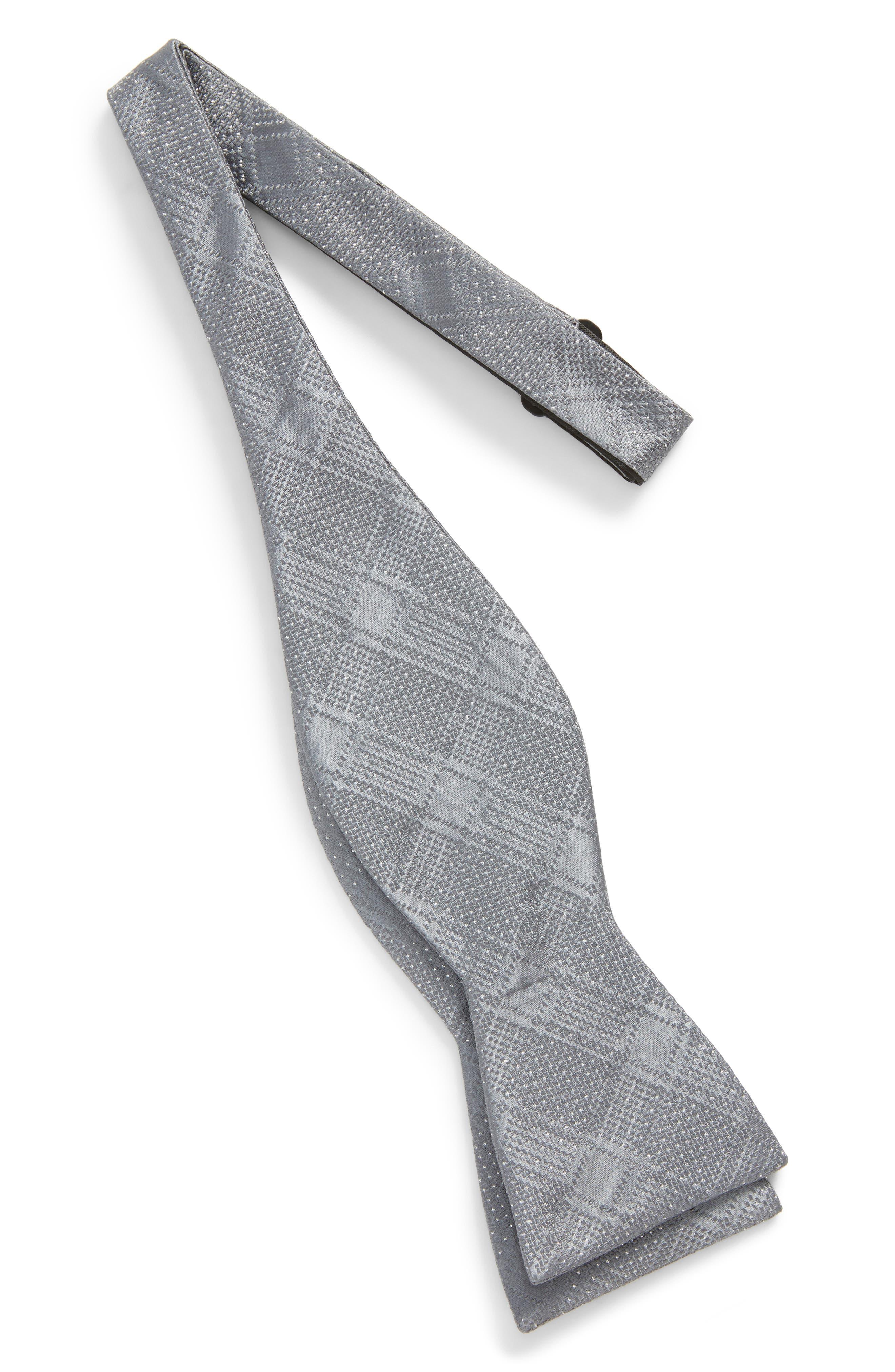 City Block Silk Bow Tie,                             Alternate thumbnail 2, color,                             Silver