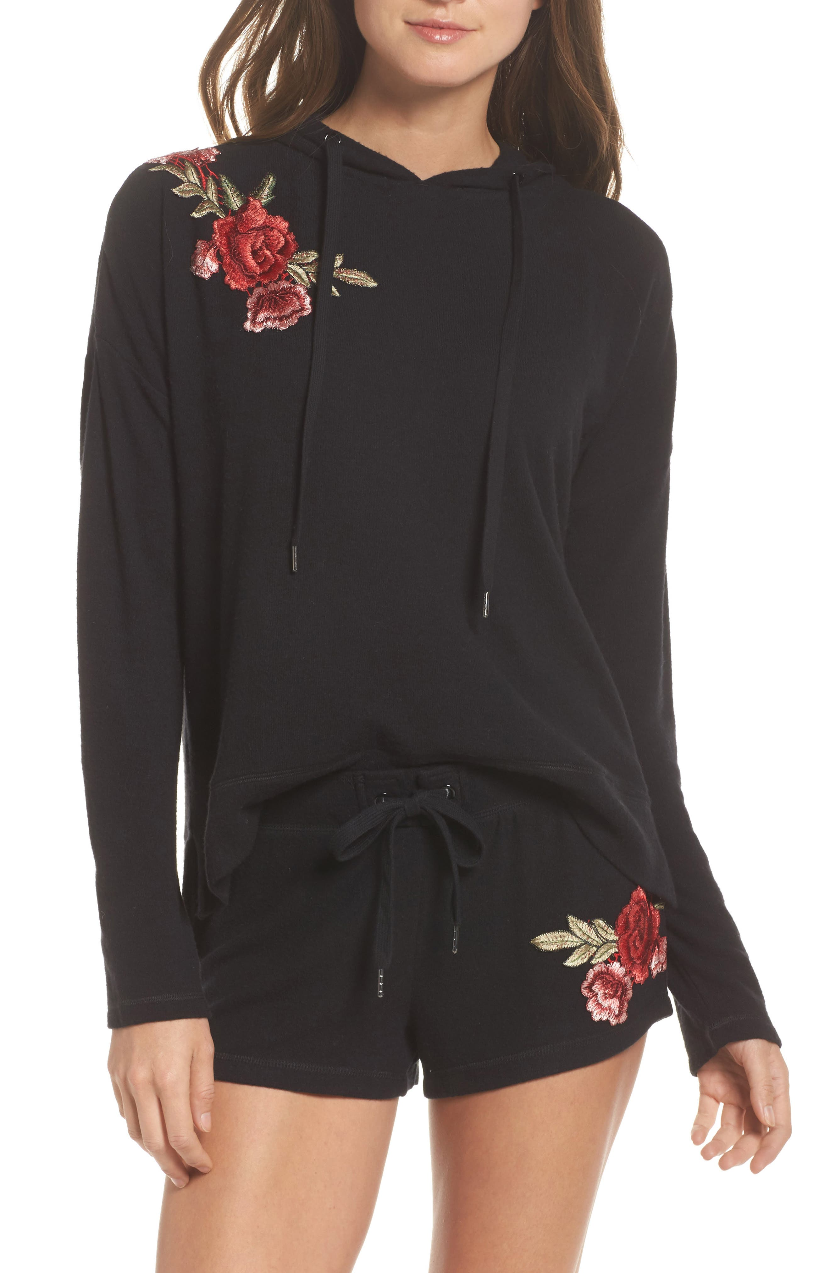 Embroidered Hoodie,                         Main,                         color, Black