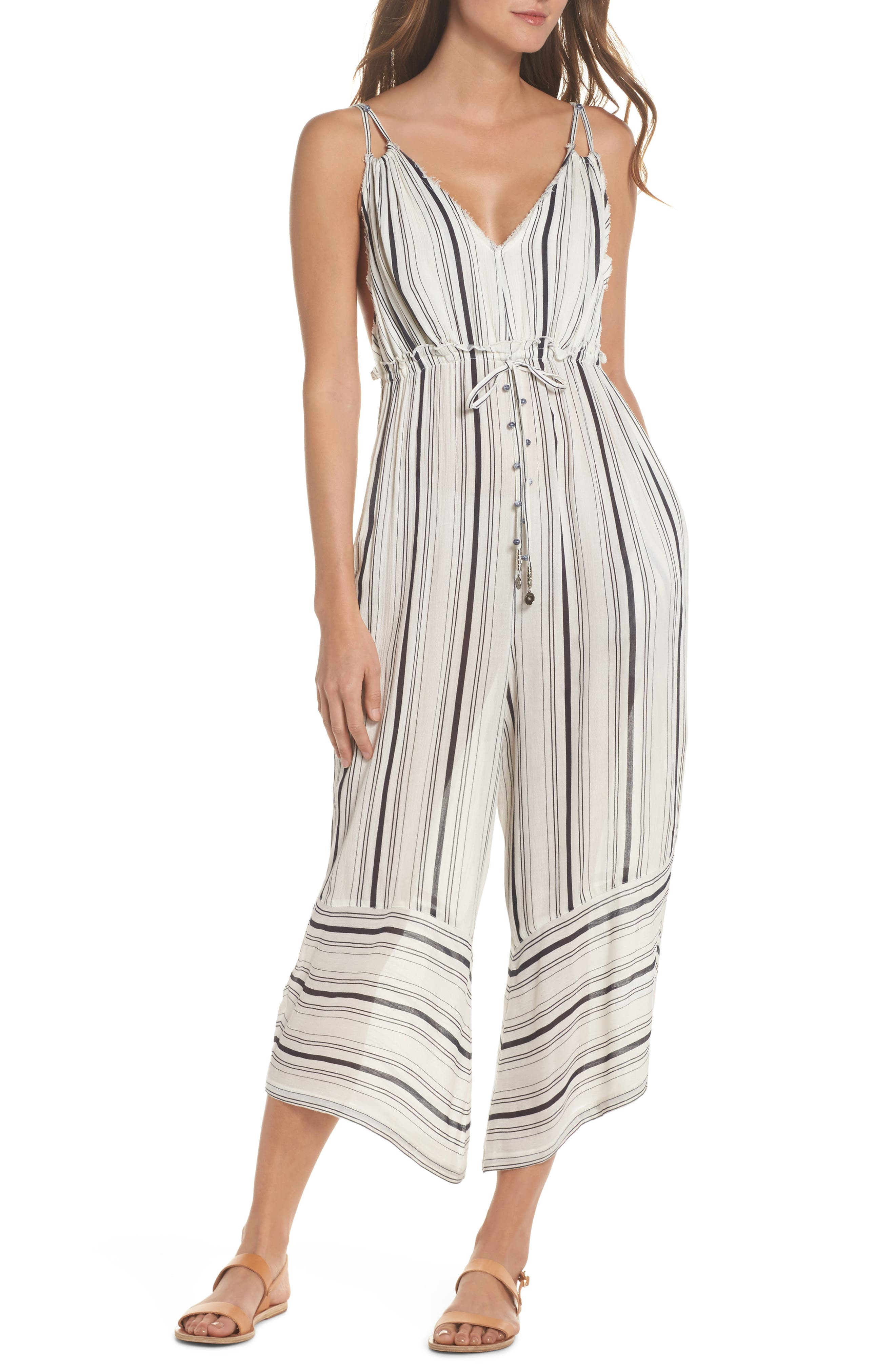 Faustine Jumpsuit Cover-Up,                         Main,                         color, White/ Black