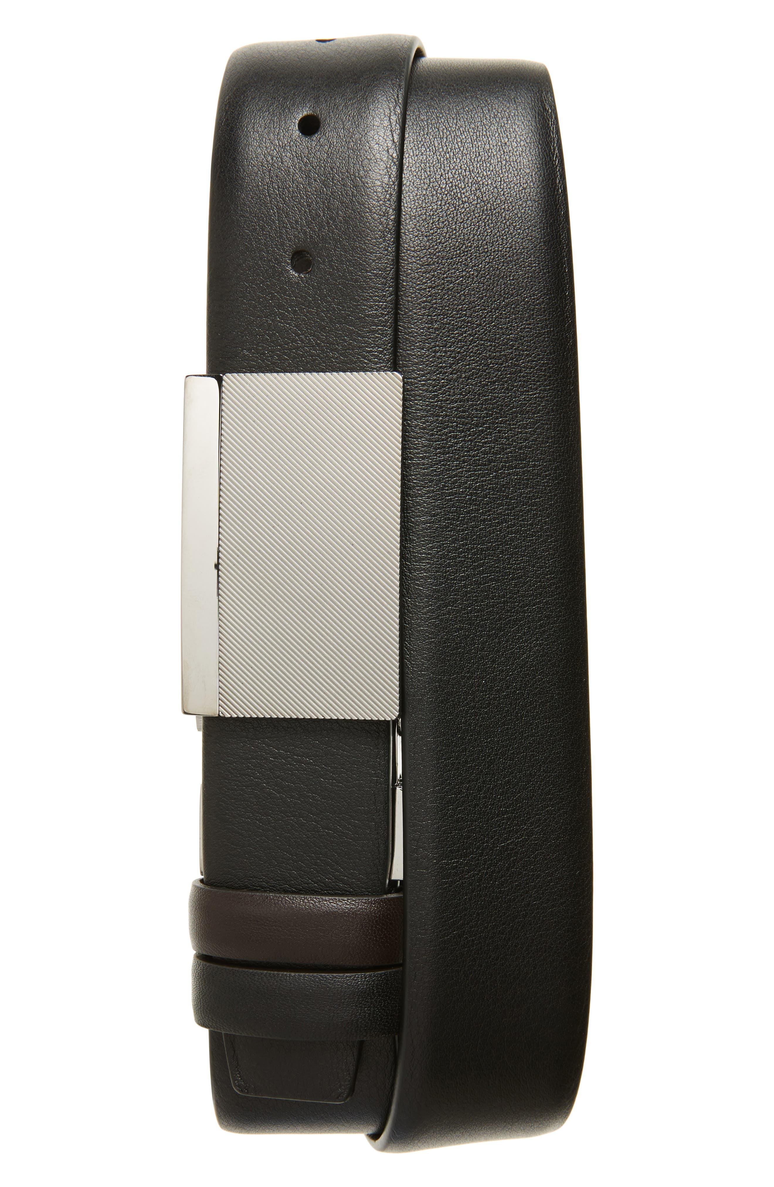 Reversible Leather Belt,                         Main,                         color, Black