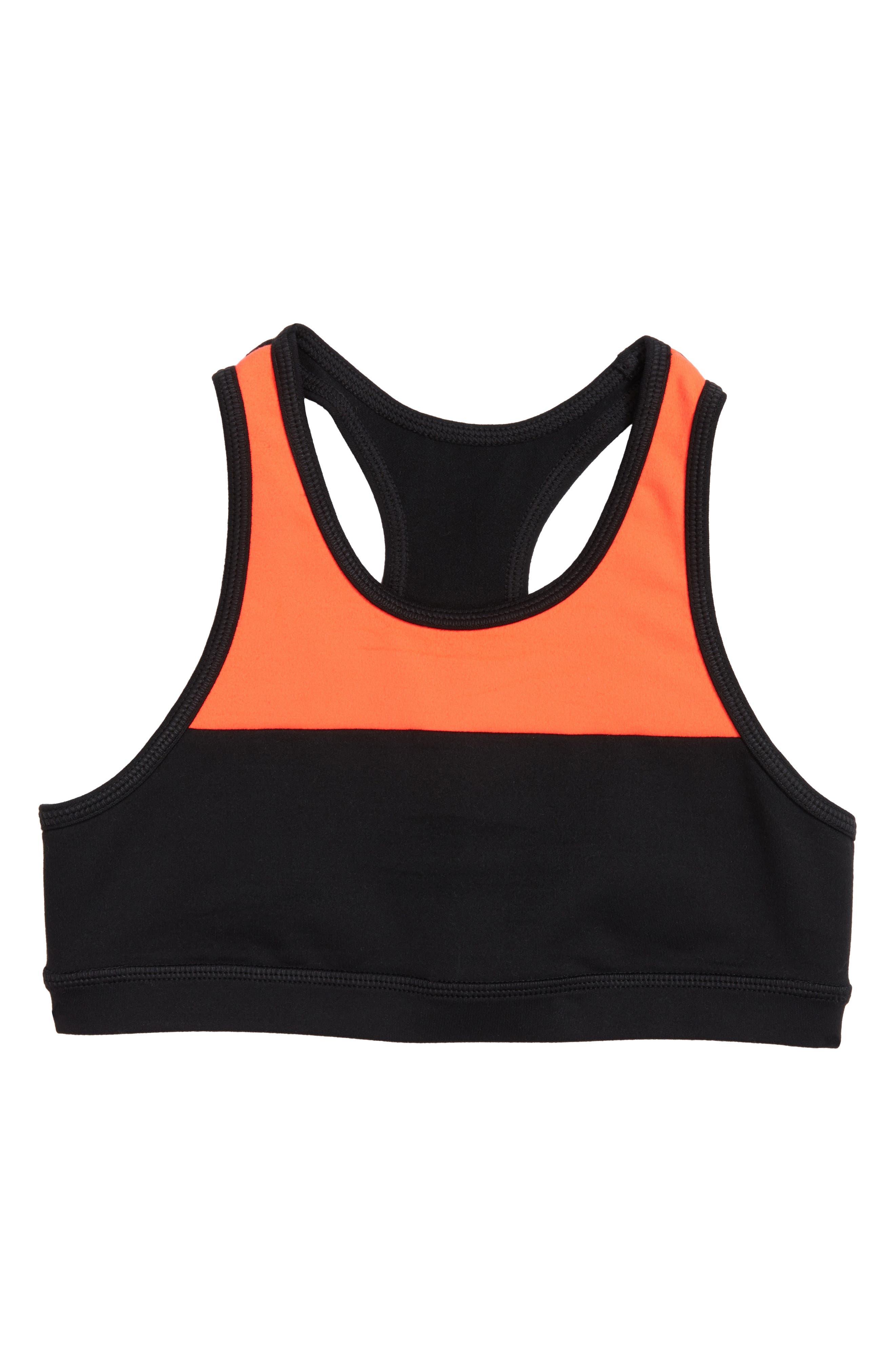 Colorblock Sports Bra,                         Main,                         color, Black- Coral