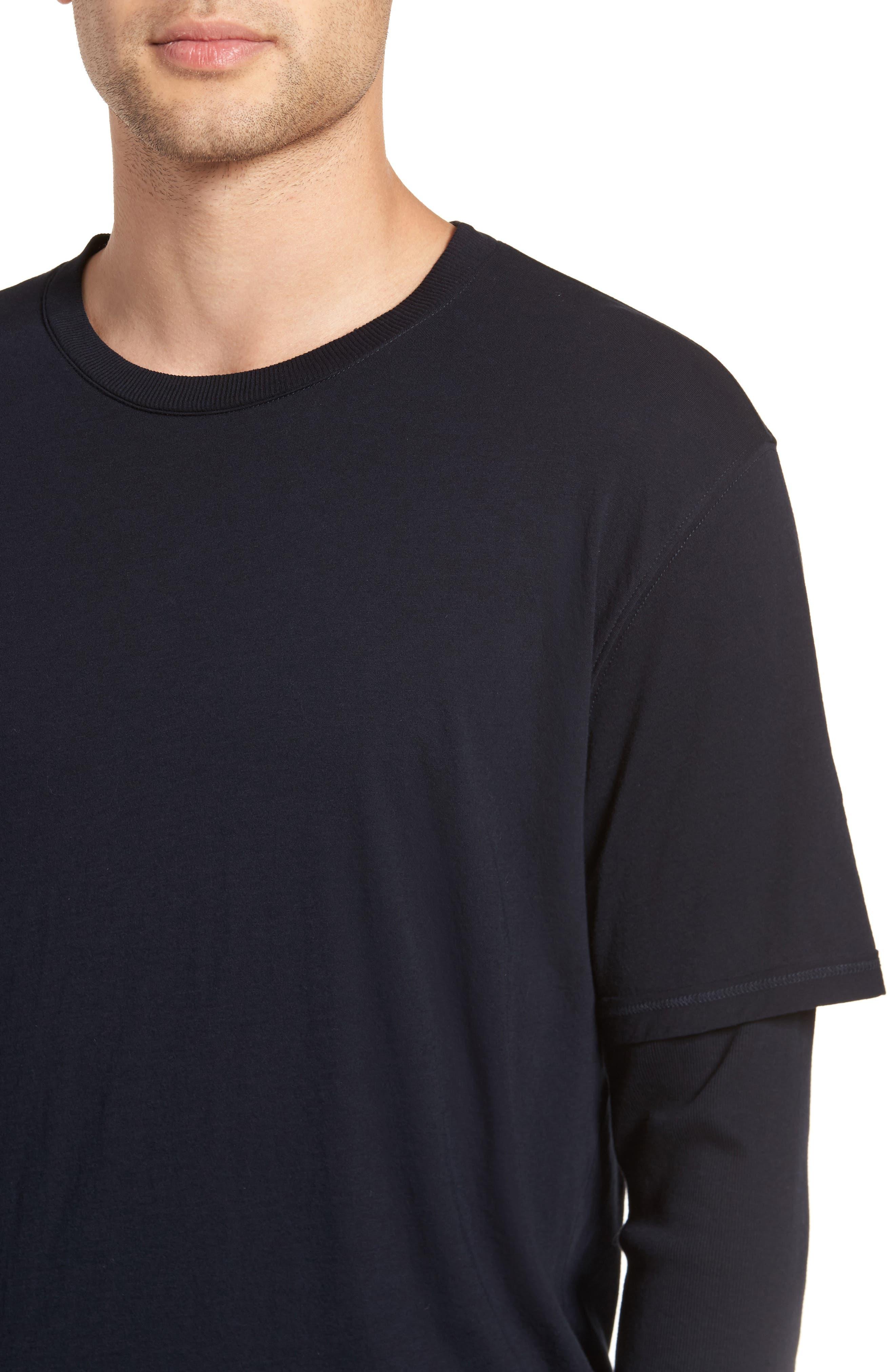 Layered Long Sleeve T-Shirt,                             Alternate thumbnail 4, color,                             Black