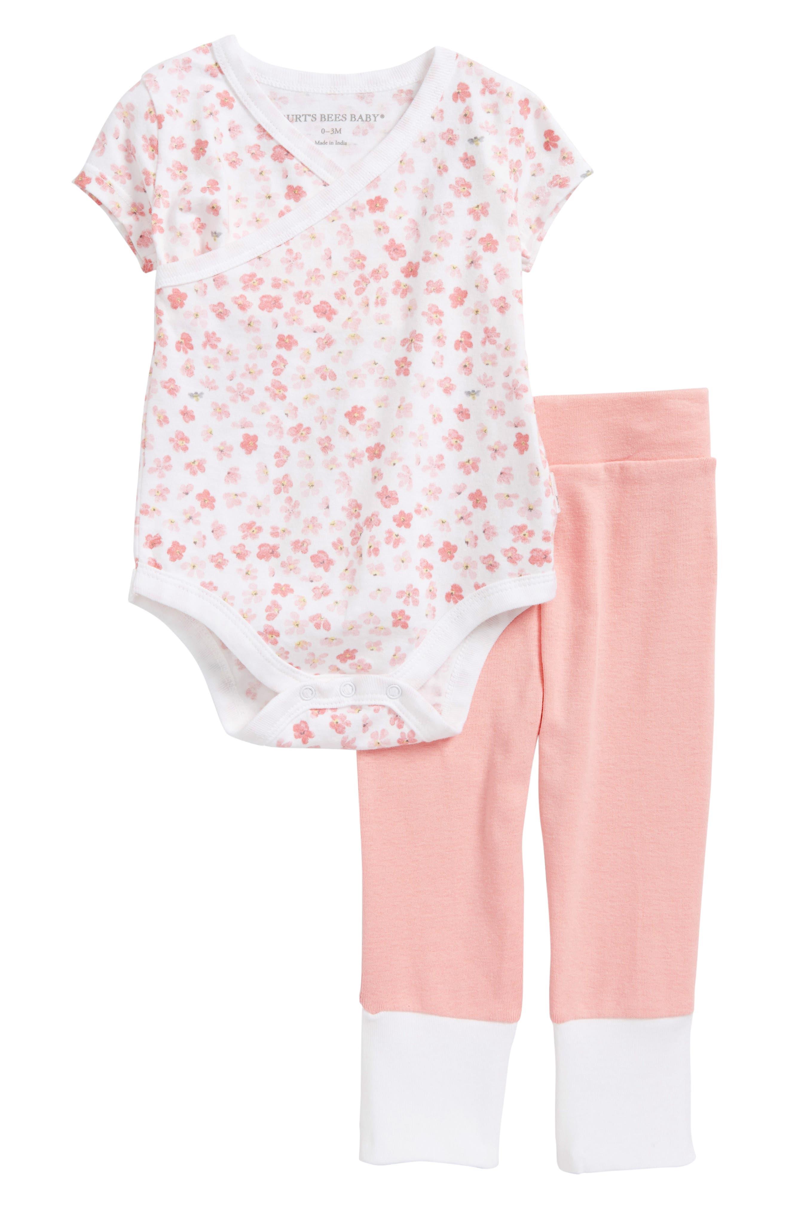 Mini Flower Organic Cotton Bodysuit & Pants Set,                             Main thumbnail 1, color,                             Water Lily