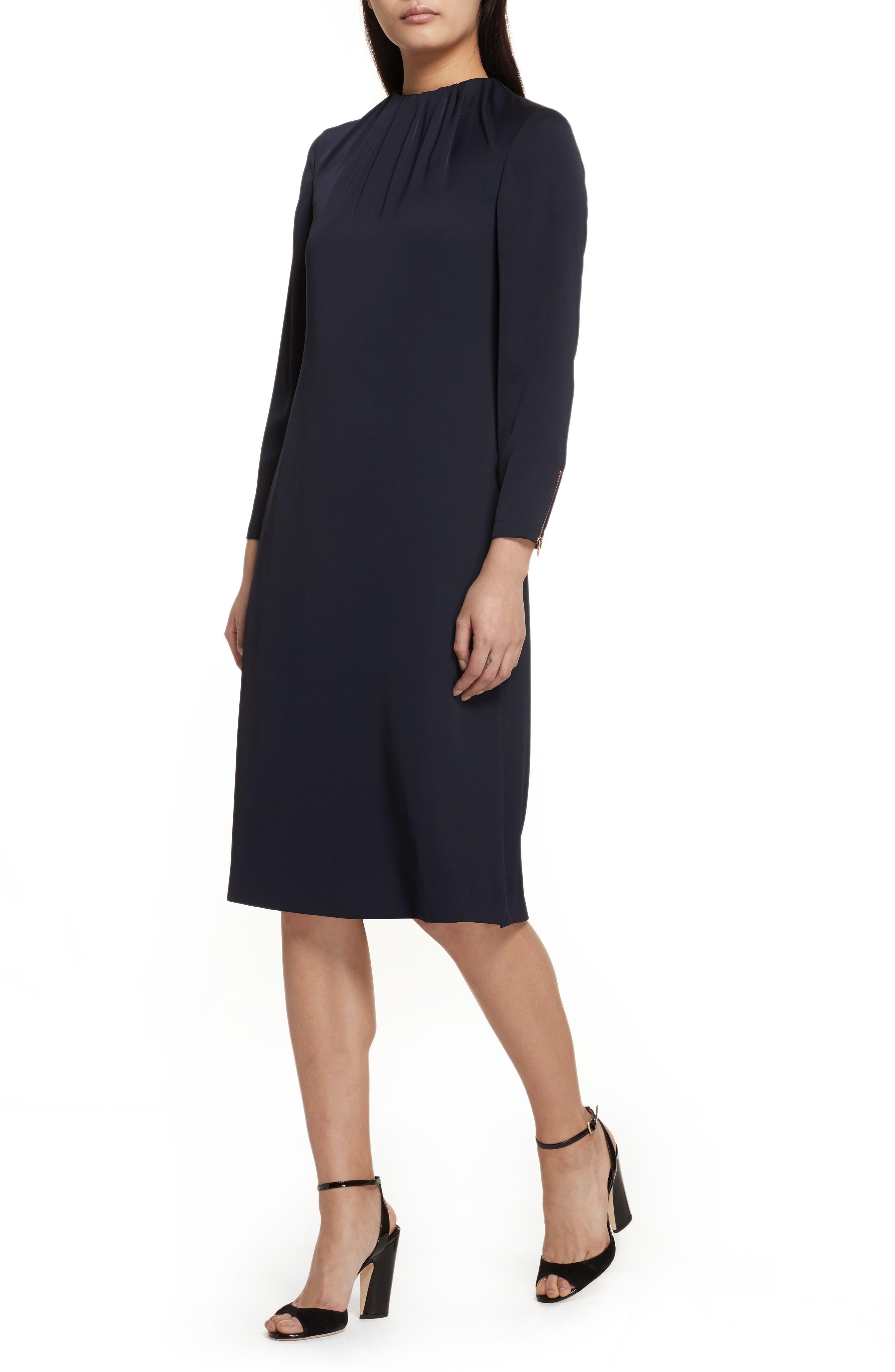 Ruched Neck Dress,                             Alternate thumbnail 4, color,                             Dark Blue
