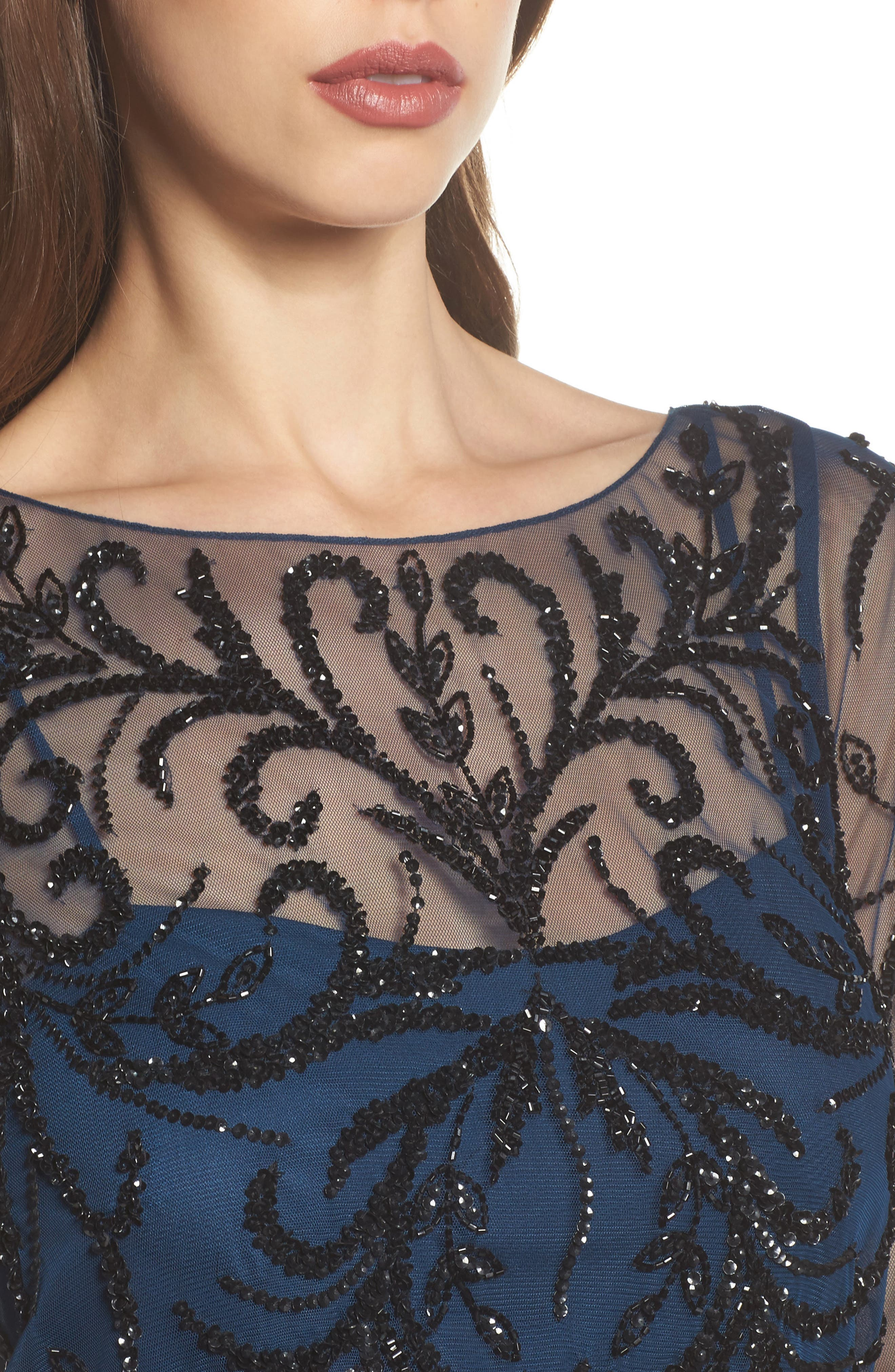 Embellished Long Sleeve Gown,                             Alternate thumbnail 4, color,                             Deep Blue