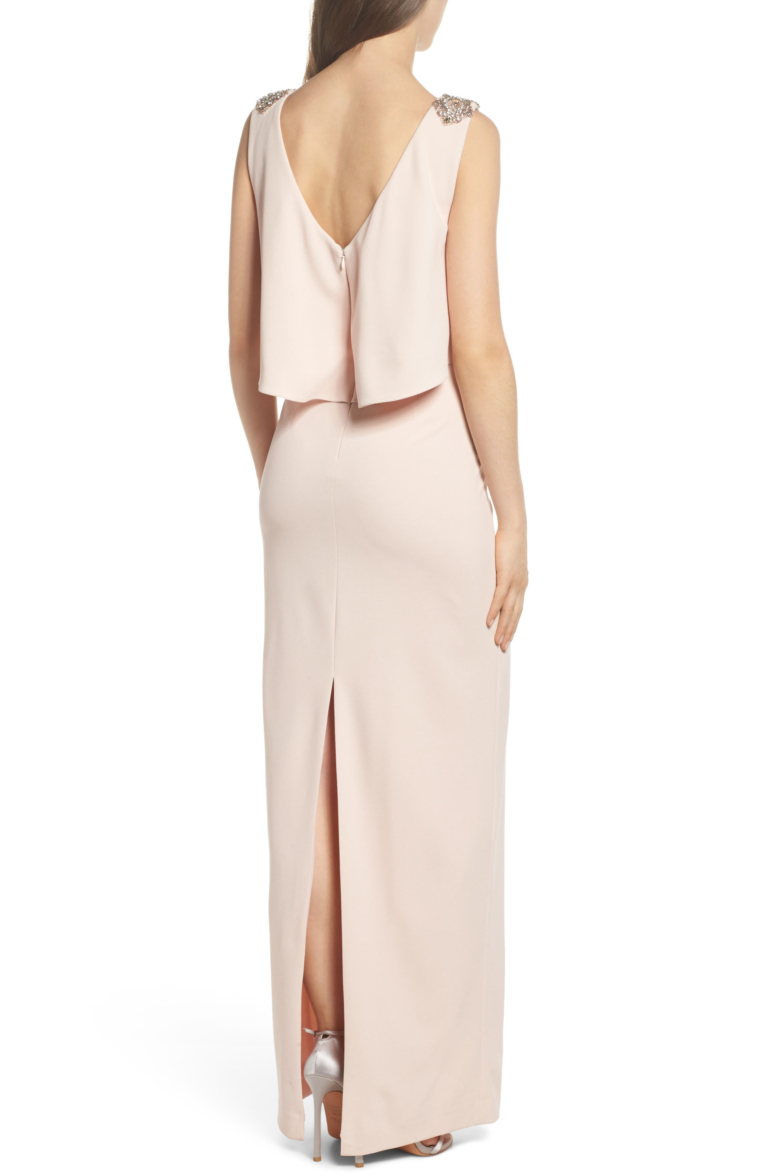 Embellished Crepe Popover Gown,                             Alternate thumbnail 2, color,                             Light Blush