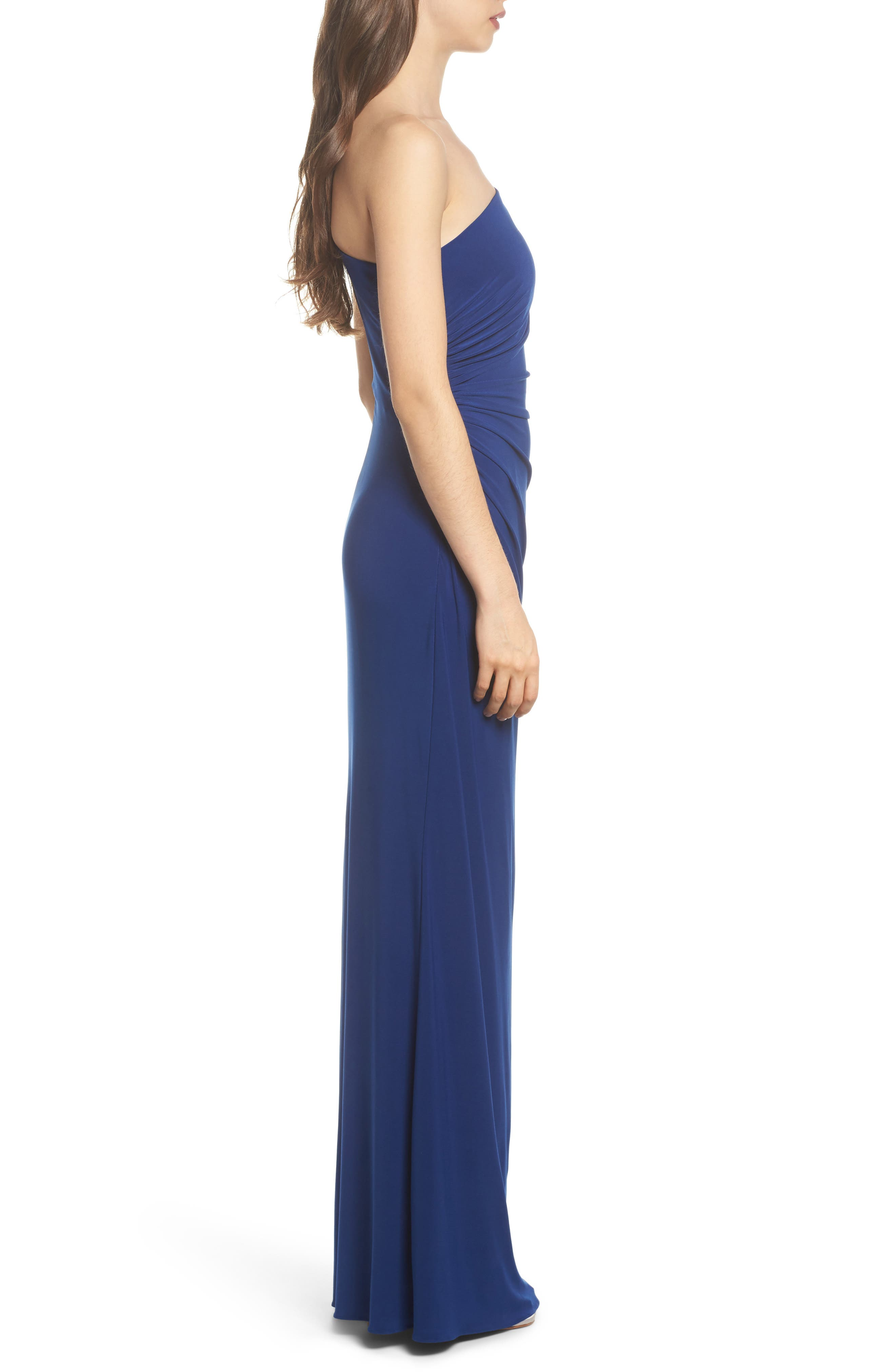 One-Shoulder Ruched Jersey Gown,                             Alternate thumbnail 3, color,                             Blue Violet