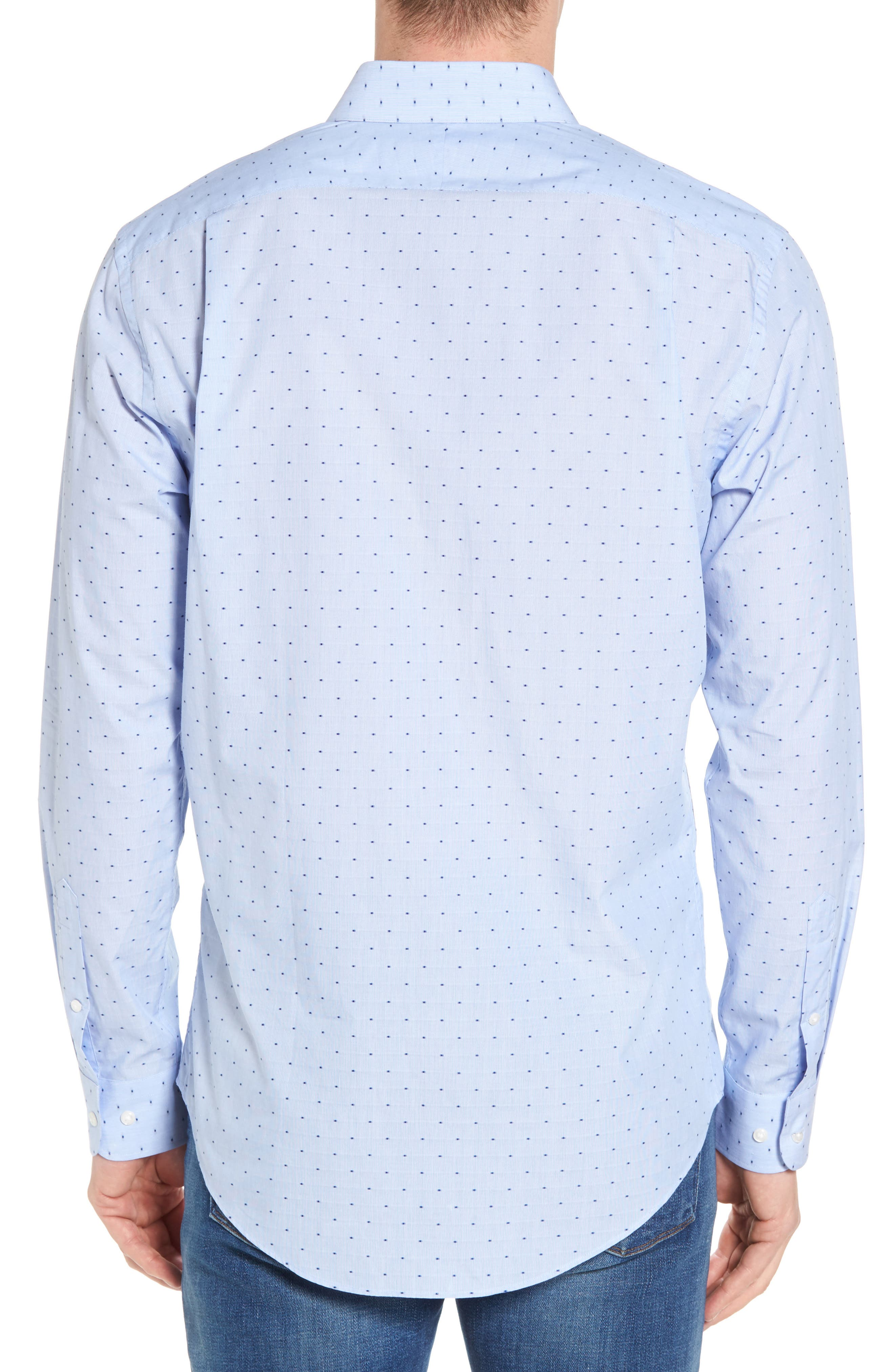 Trim Fit Dot Dress Shirt,                             Alternate thumbnail 3, color,                             Blue Hydrangea