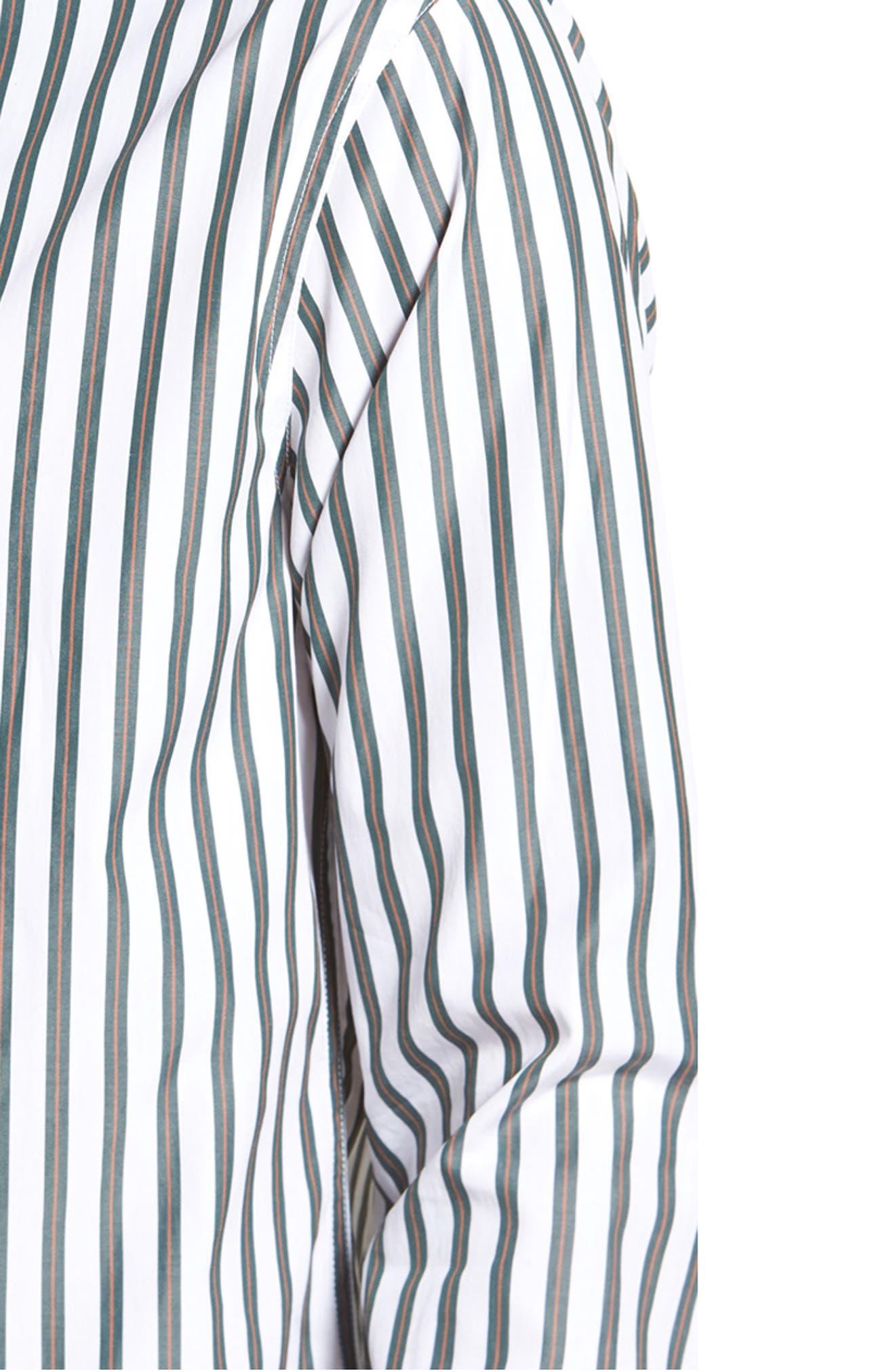 Stripe Sport Shirt,                             Alternate thumbnail 4, color,                             White/ Pine Grove