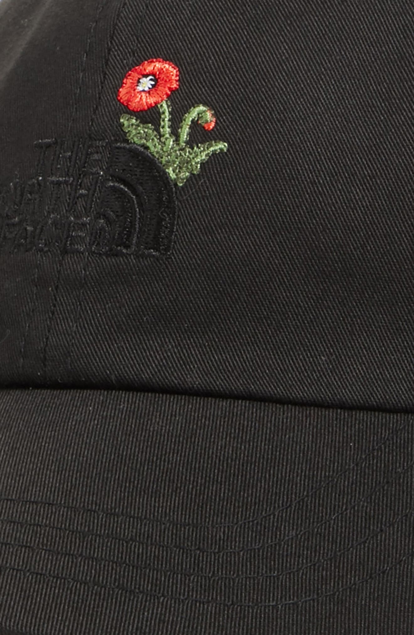 Norm Poppy Embroidered Adjustable Cap,                             Alternate thumbnail 4, color,                             Tnf Black
