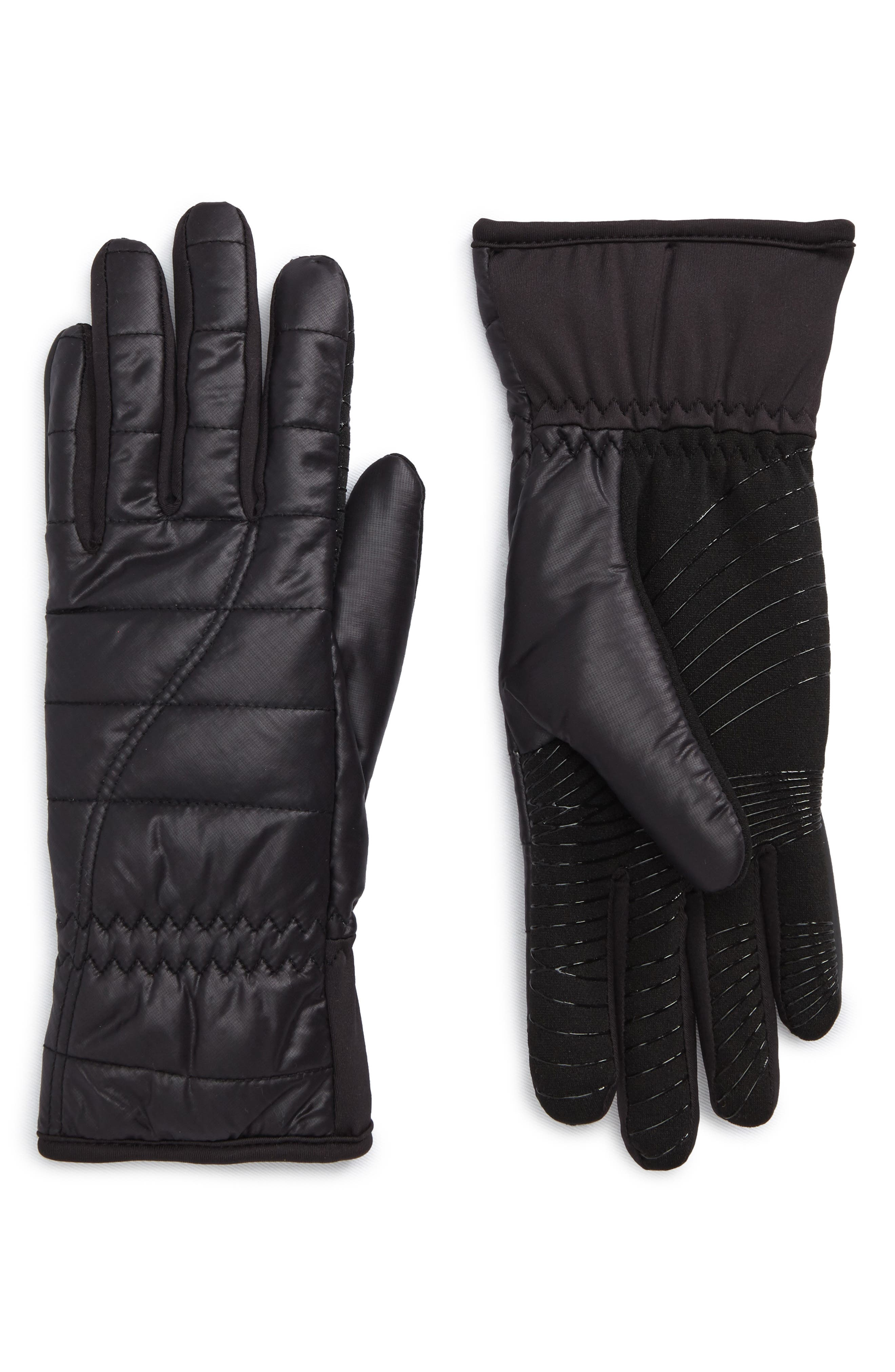 Quilted Tech Gloves,                         Main,                         color, Black