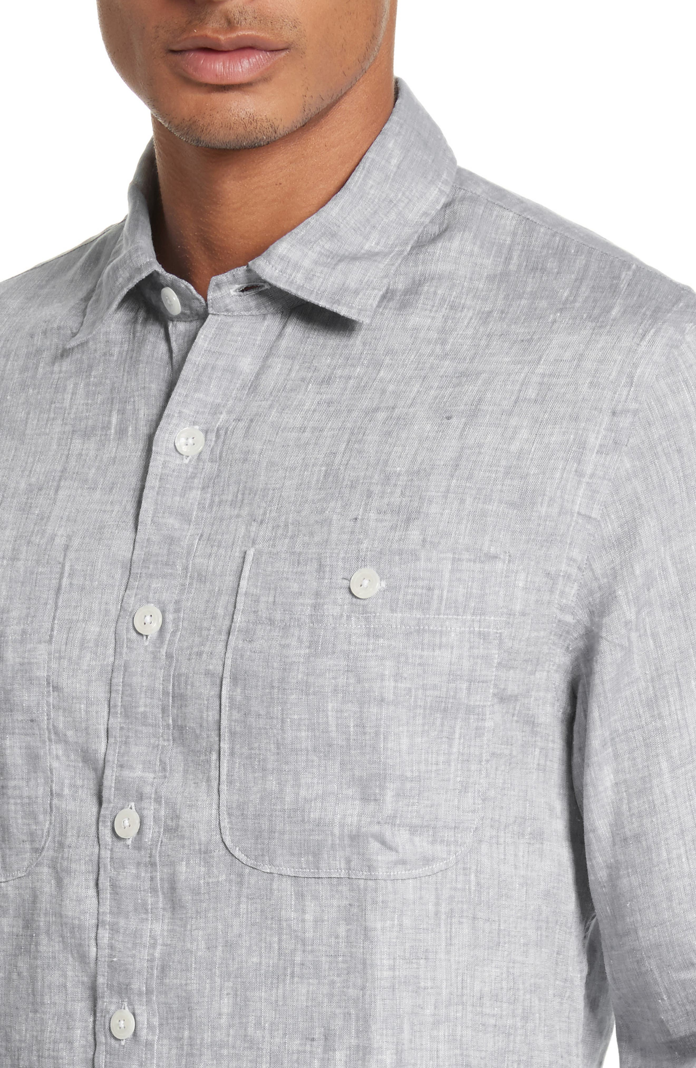 Linen Shirt,                             Alternate thumbnail 4, color,                             Light Grey