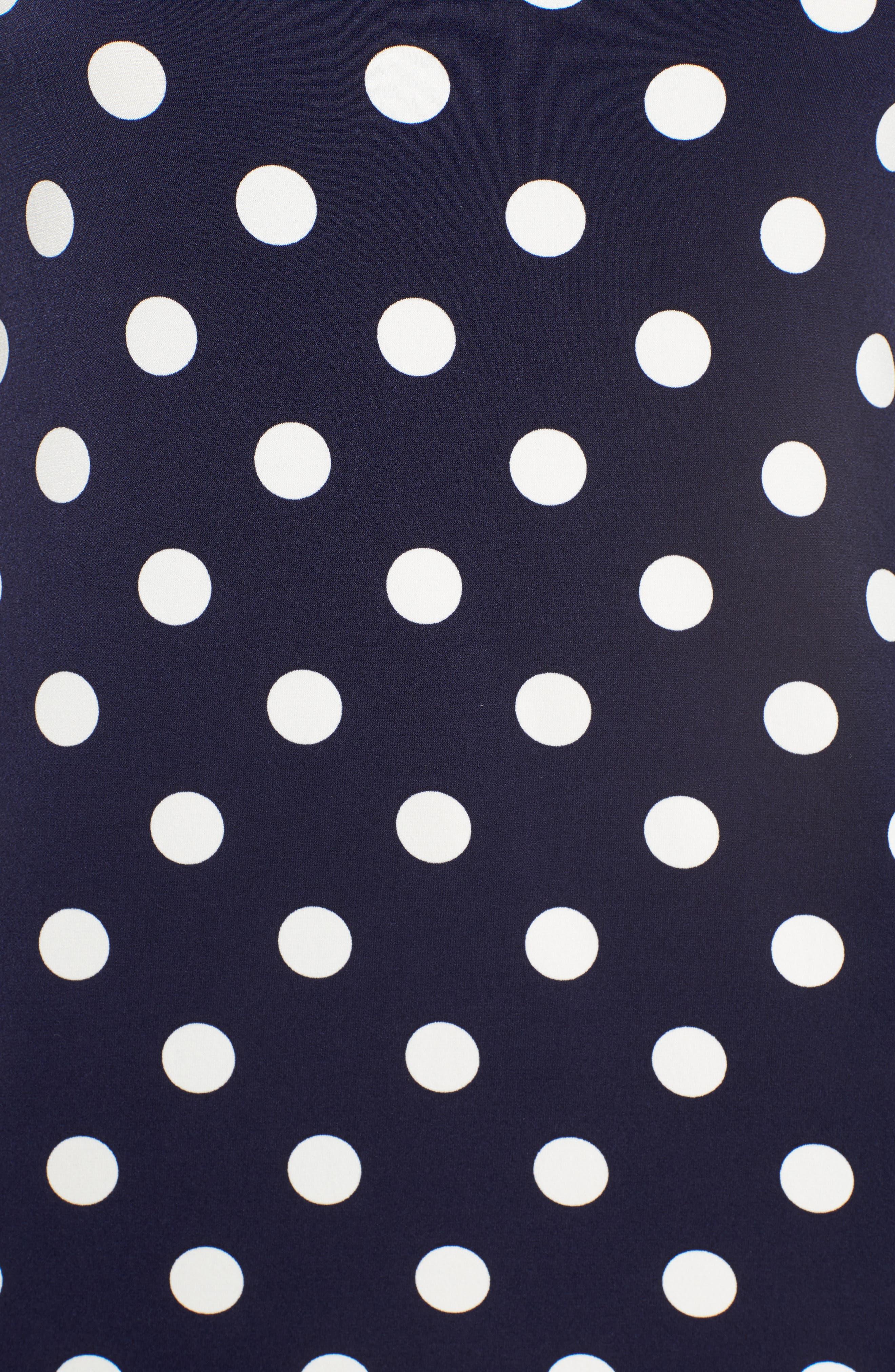 Dot Print Bell Sleeve Blouse,                             Alternate thumbnail 5, color,                             529-Evening Navy