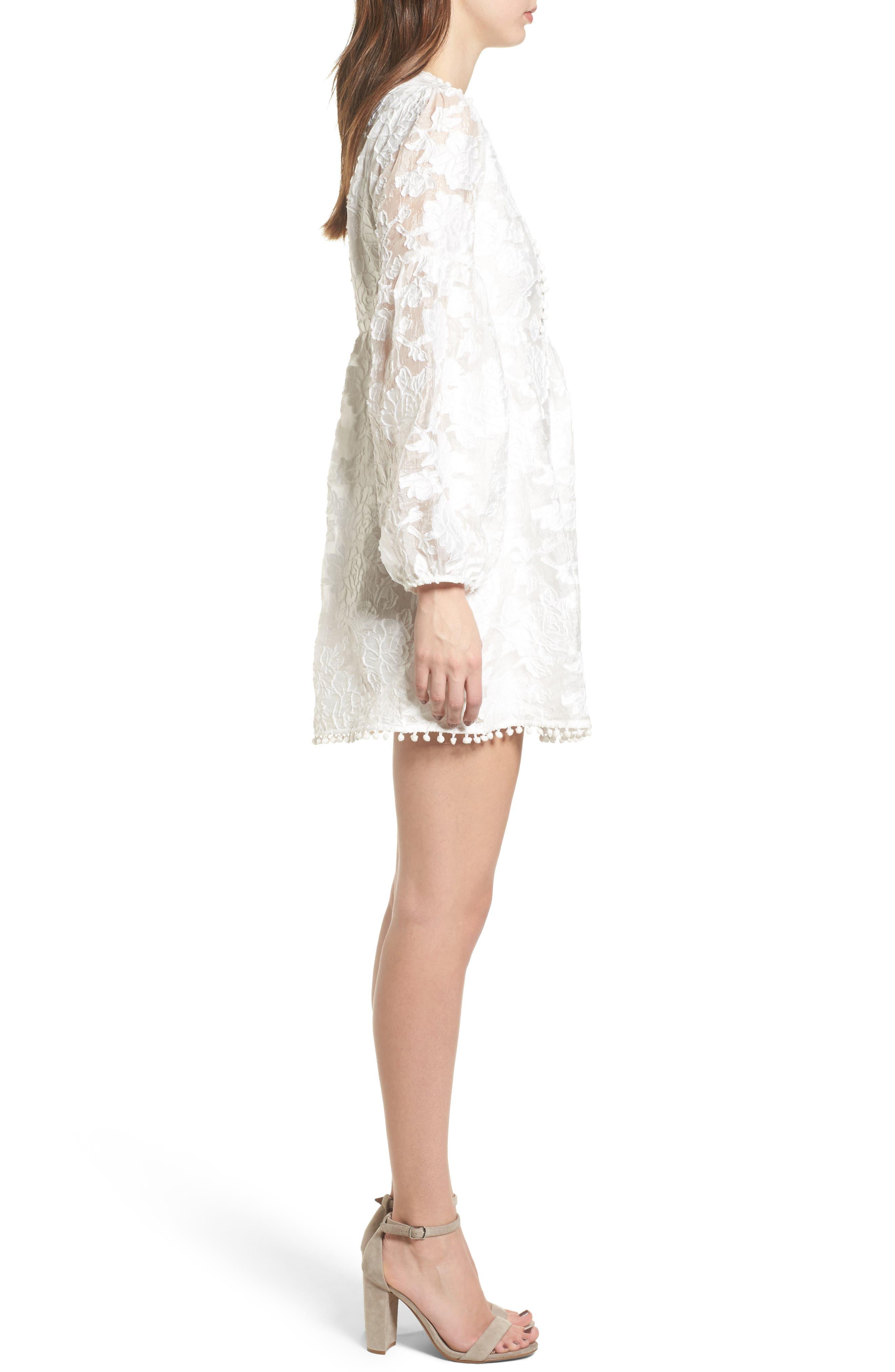 Floral Burnout Dress,                             Alternate thumbnail 4, color,                             White