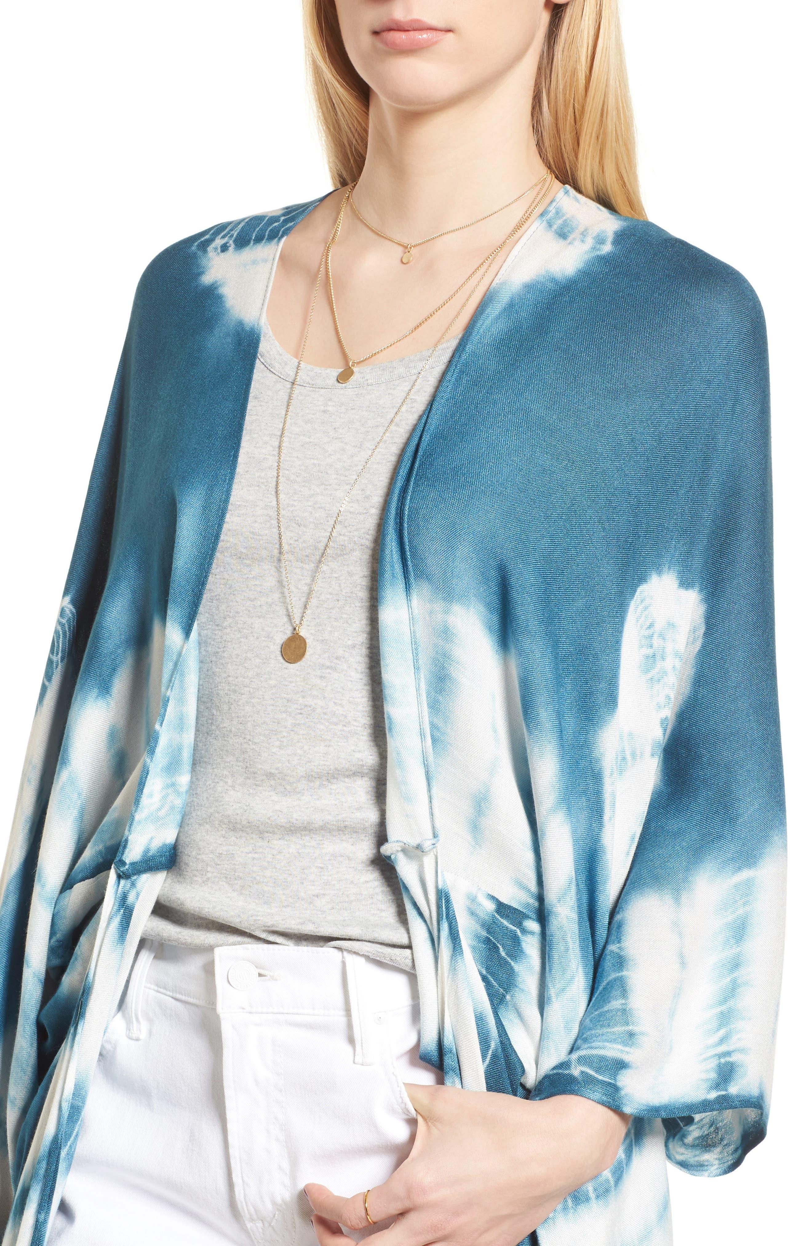 Spellbound Tie Dye Kimono Duster,                             Alternate thumbnail 4, color,                             Ocean