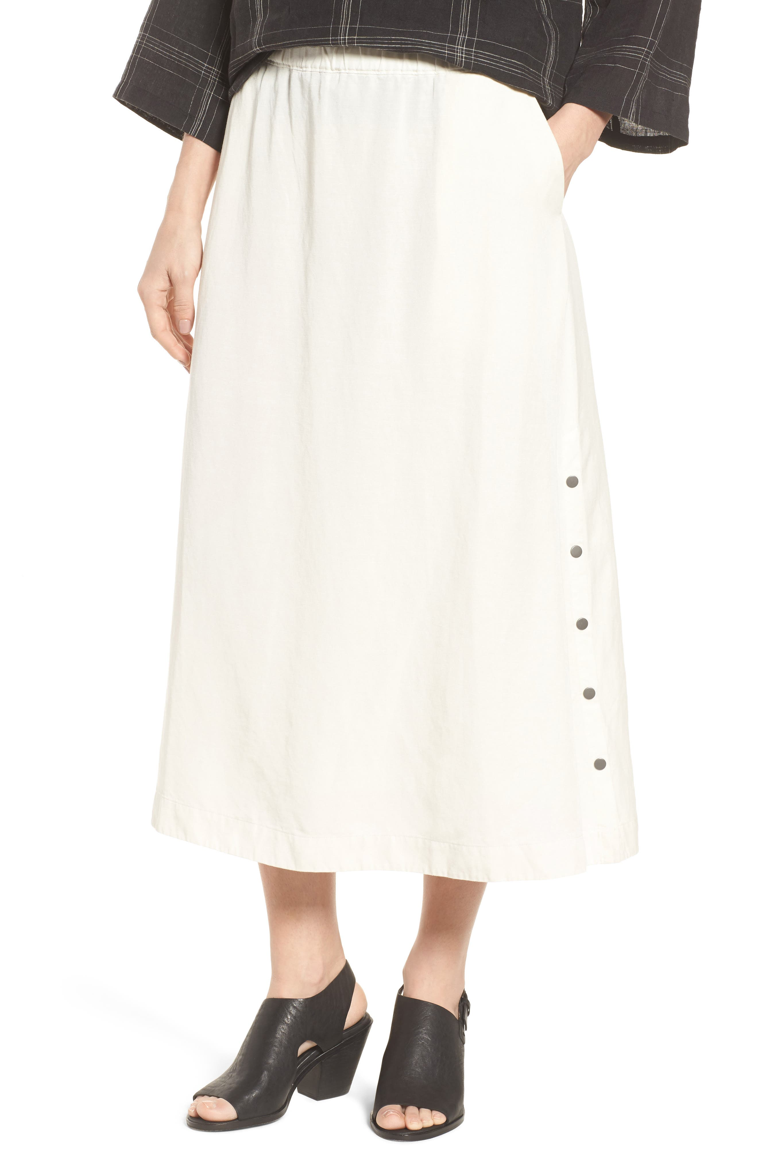 Eileen Fisher Tencel® Lyocell & Linen Midi Skirt (Regular & Petite)