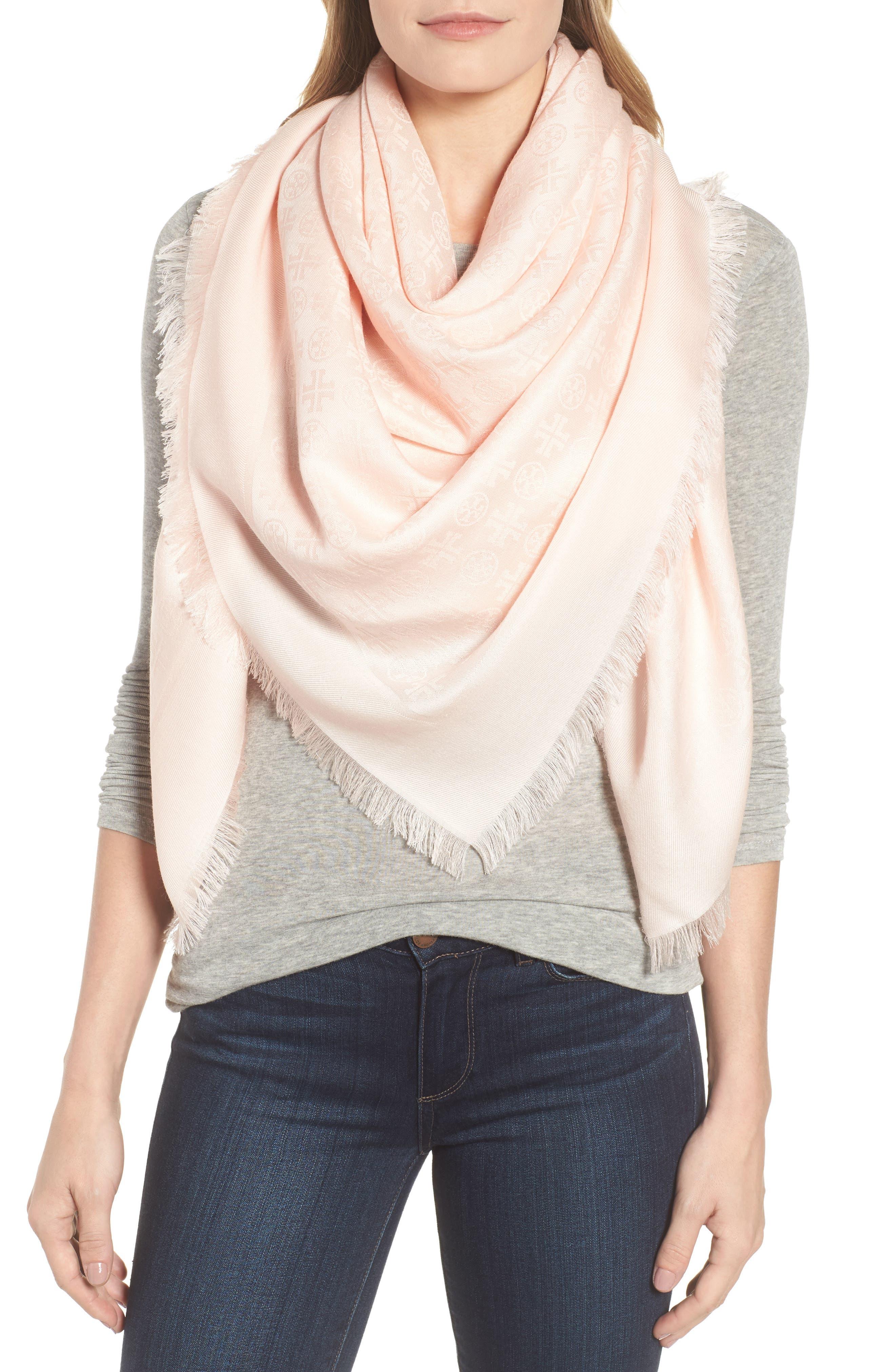 Traveler Logo Jacquard Wool & Silk Scarf,                         Main,                         color, Ballet Pink