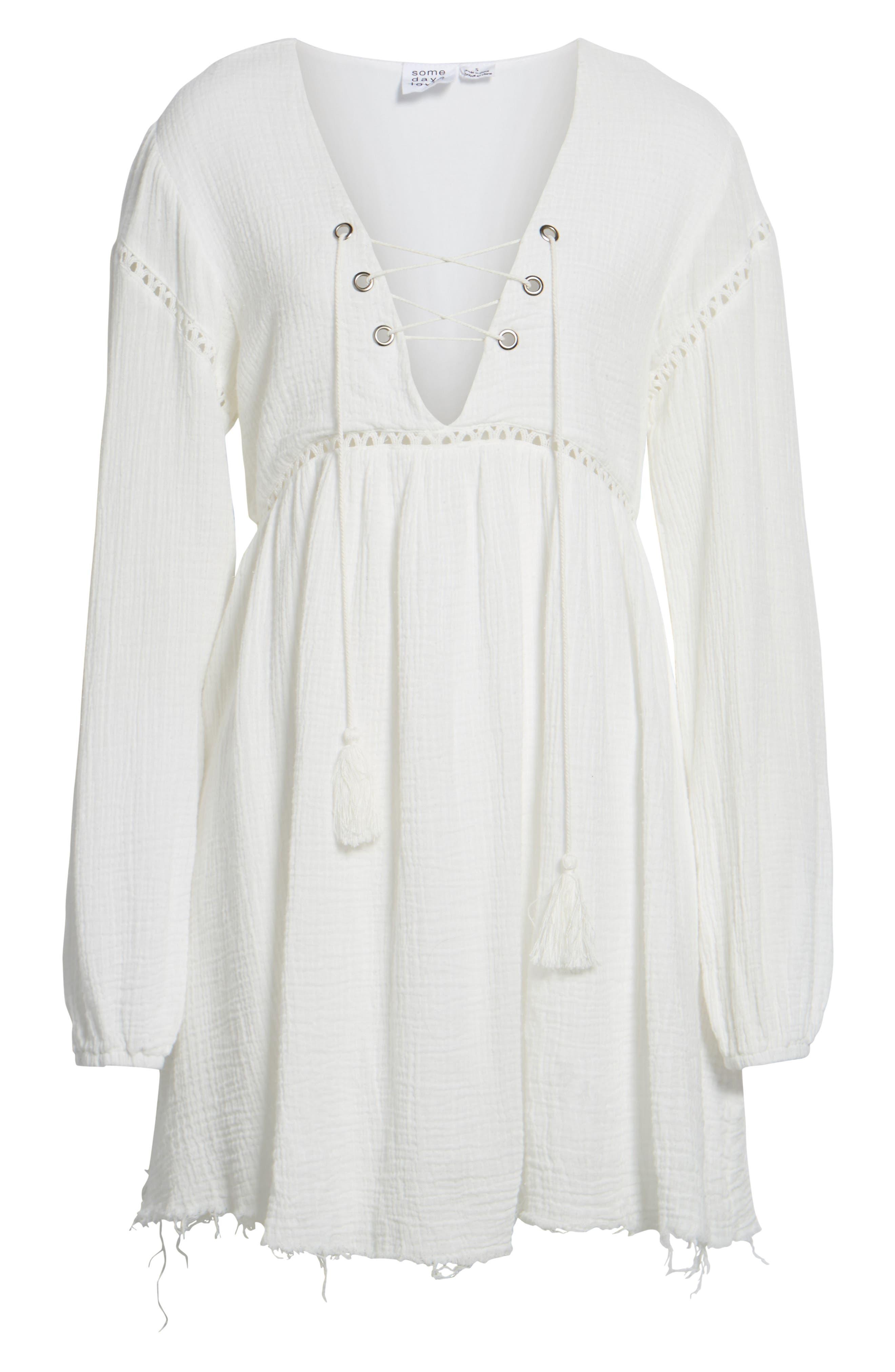 Sliding Currents Babydoll Dress,                             Alternate thumbnail 7, color,                             Off White