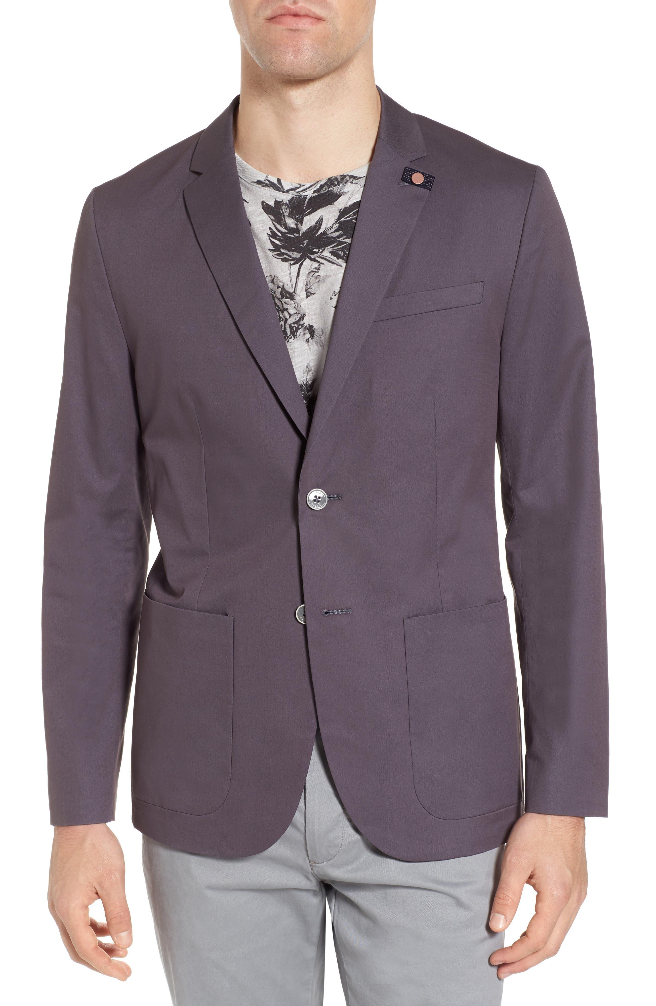 Cliford Trim Fit Stretch Cotton Blazer,                         Main,                         color, Light Grey