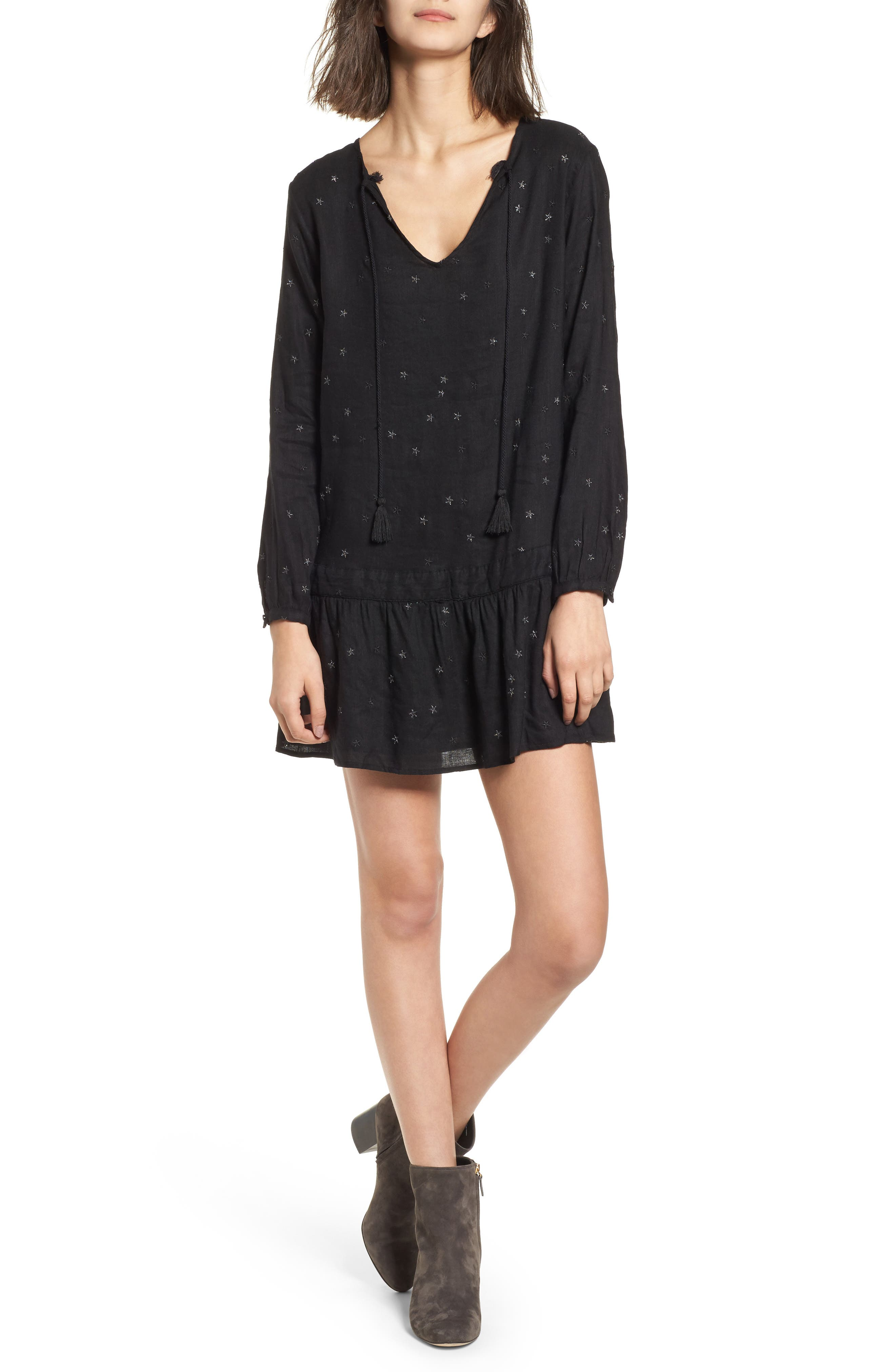 Lydia Shift Dress,                         Main,                         color, Black With Stars