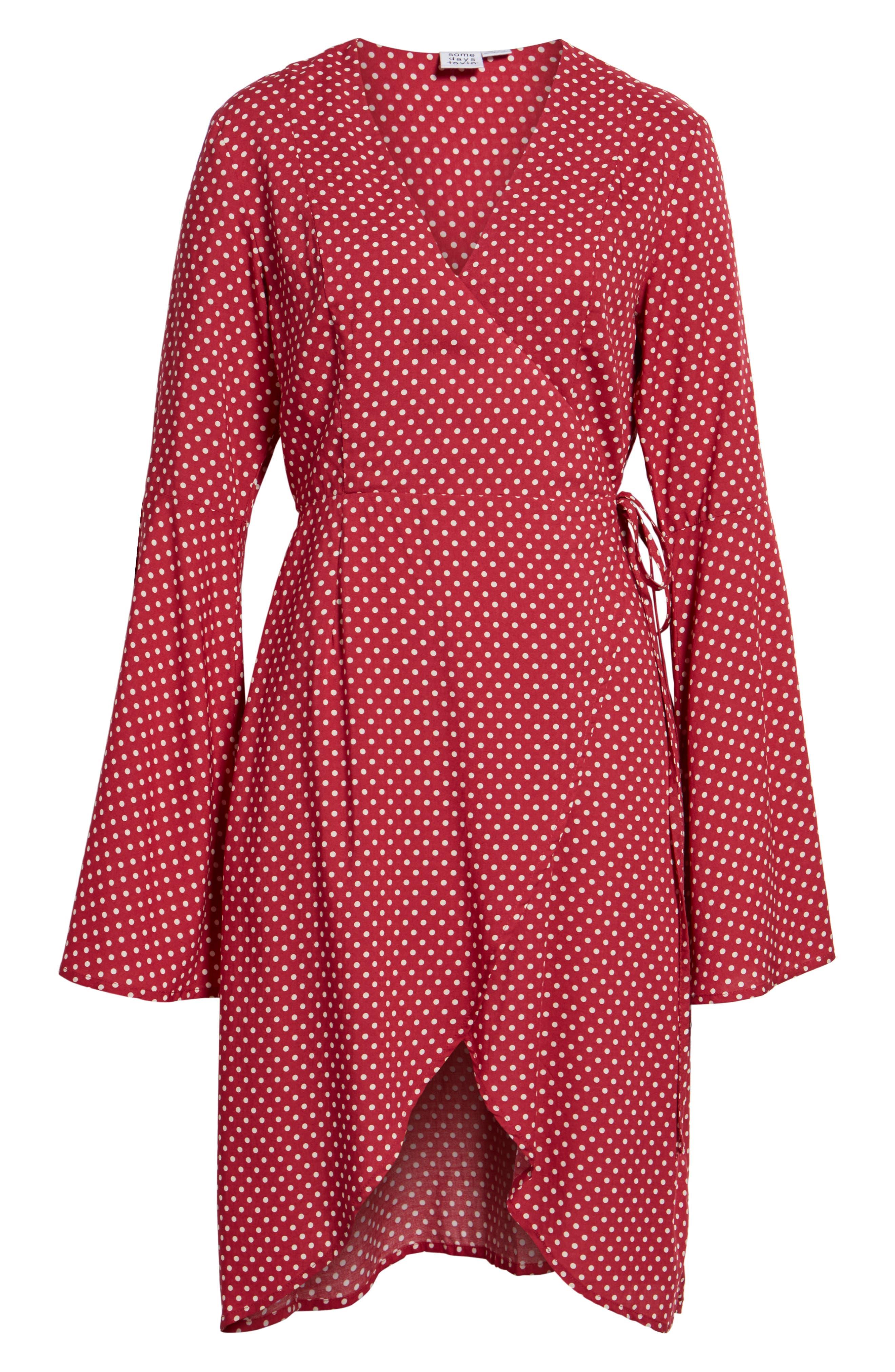 Fearless Polka Dot Wrap Dress,                             Alternate thumbnail 7, color,                             Multi Red