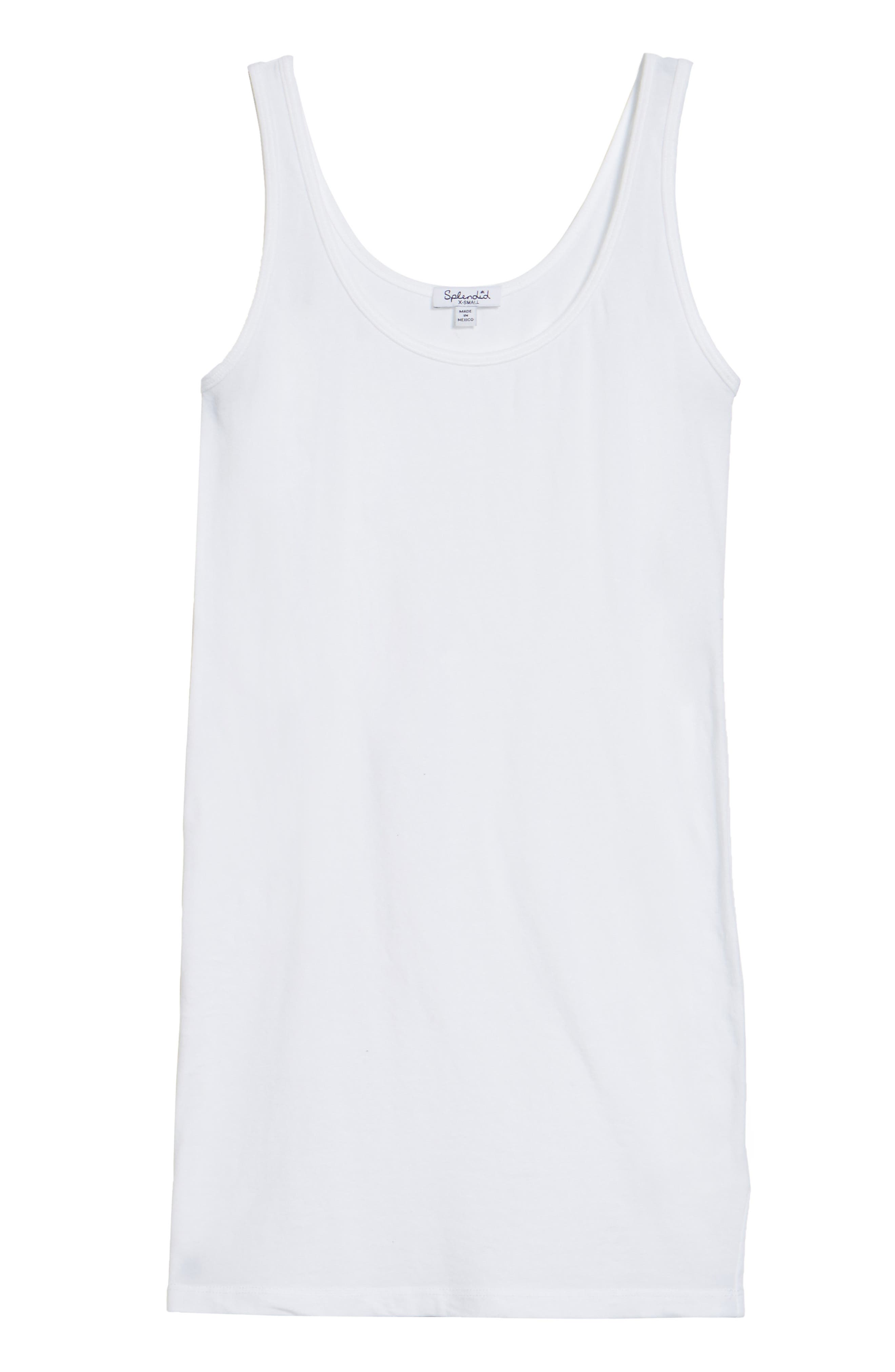 Scoop Neck Stretch Tank,                             Alternate thumbnail 3, color,                             White