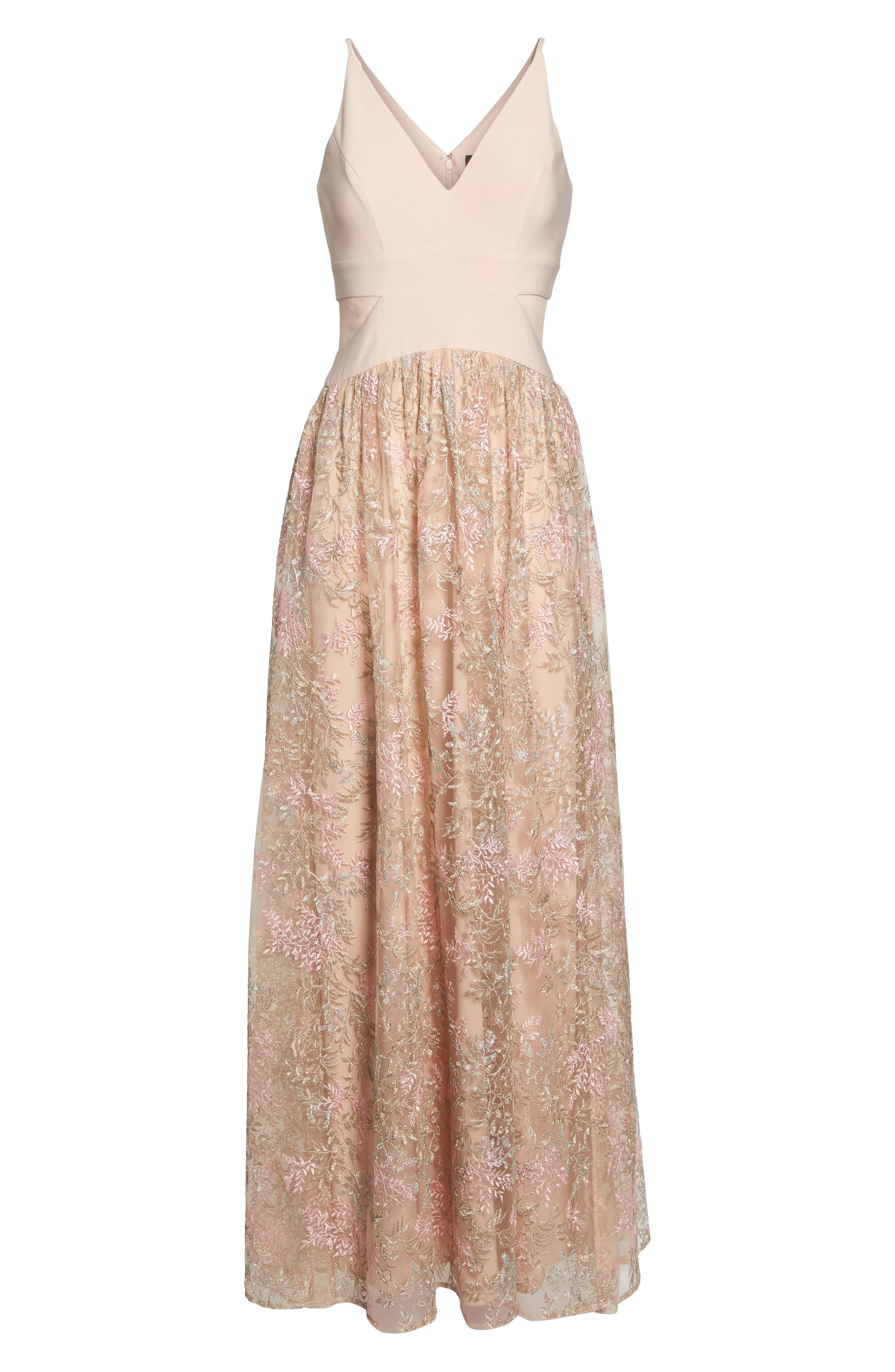 Mesh Inset Embroidered Gown,                             Alternate thumbnail 6, color,                             Blush/ Multi