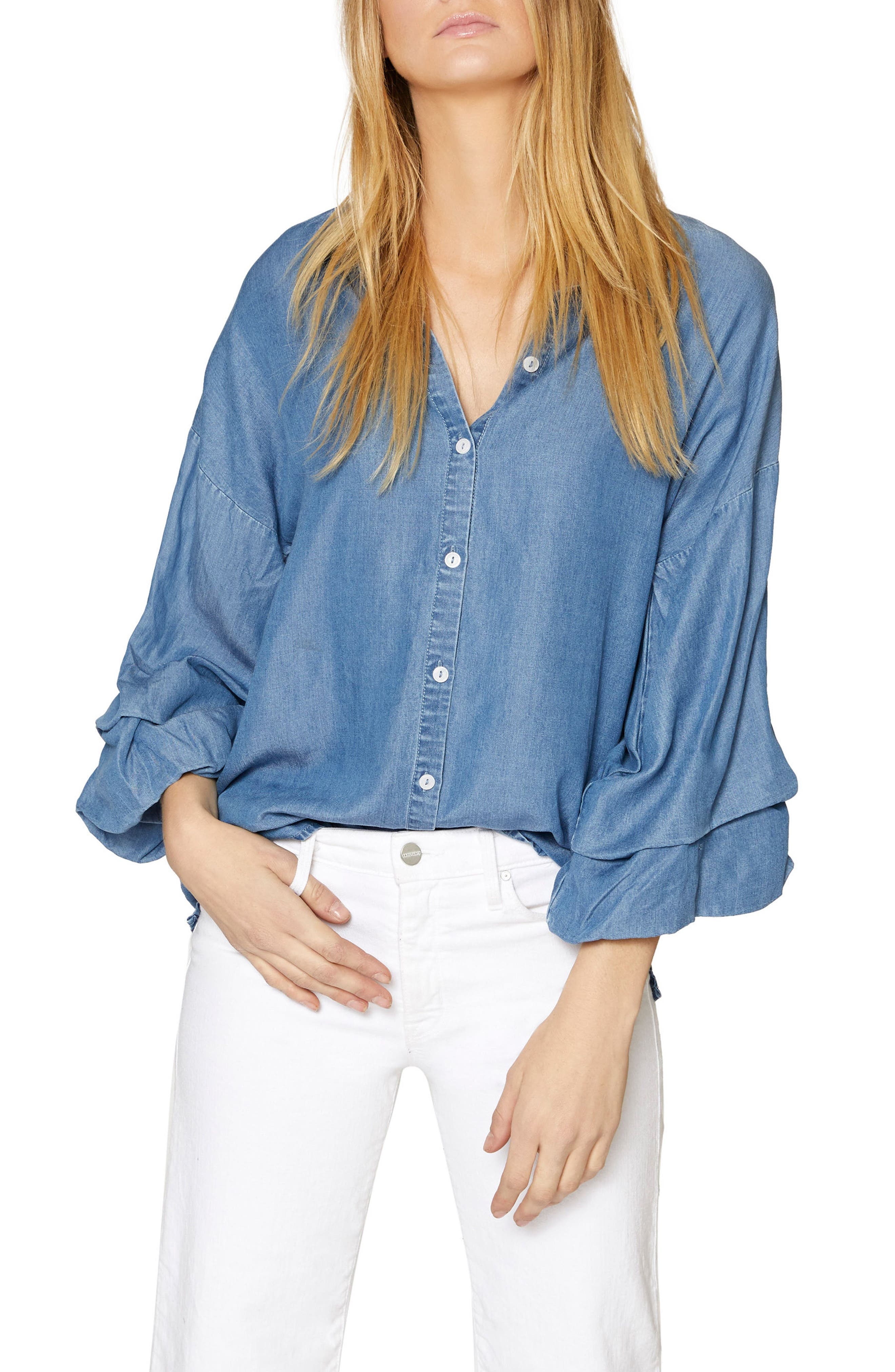 Brynn Gathered Sleeve Shirt,                             Main thumbnail 1, color,                             Sky Wash
