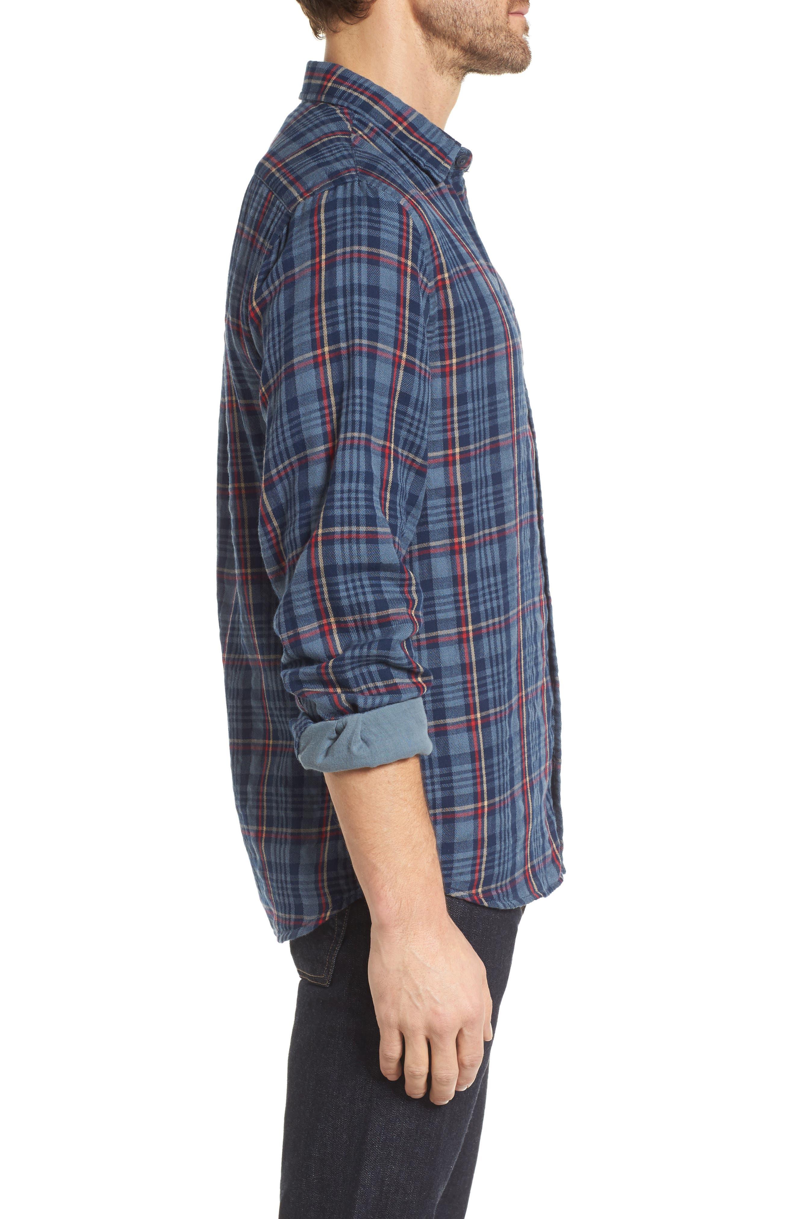 Alton Double Cloth Plaid Sport Shirt,                             Alternate thumbnail 3, color,                             Navy Grey Plaid