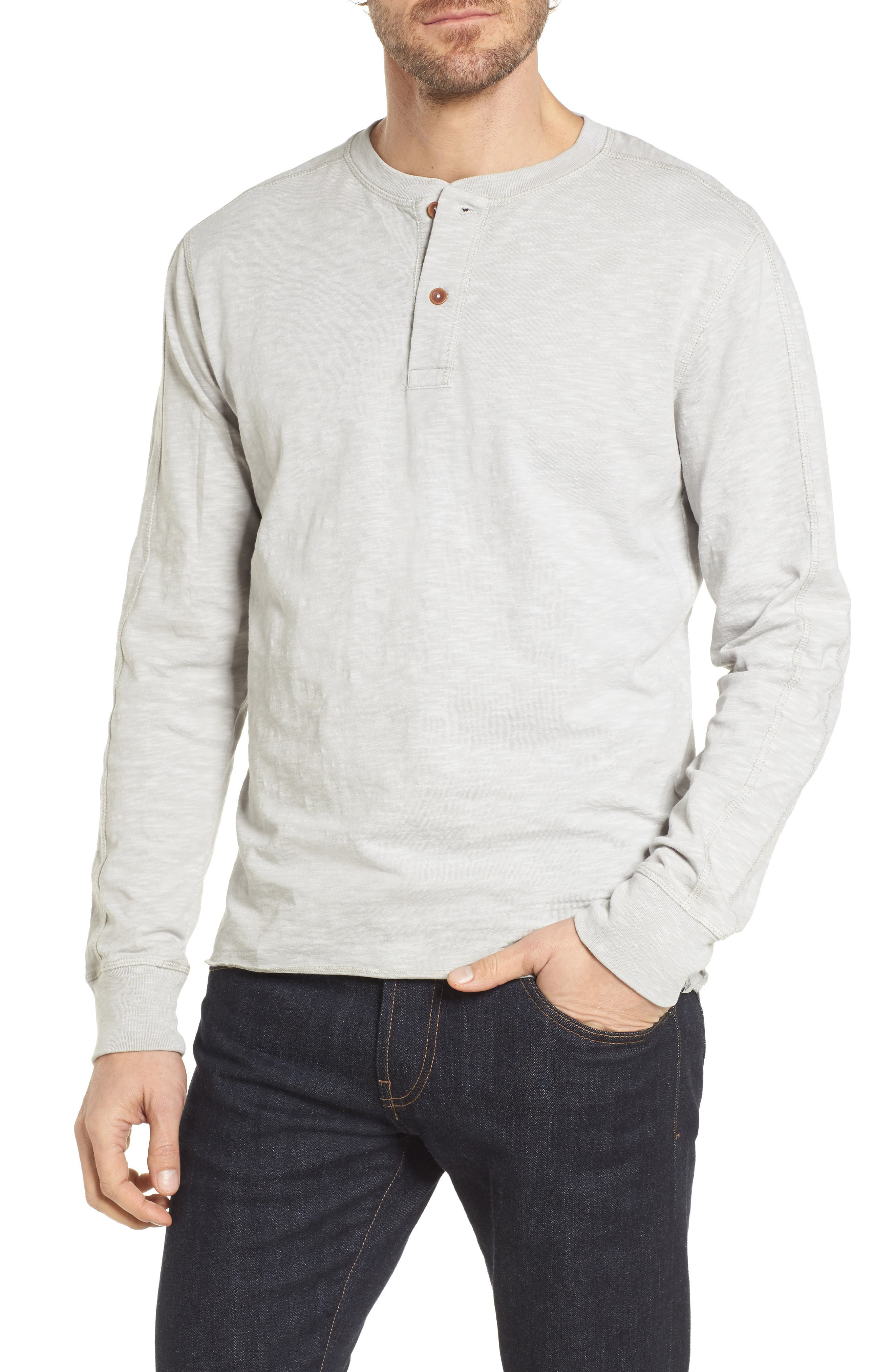 Cooper Slub Long Sleeve Henley,                         Main,                         color, High Rise Grey