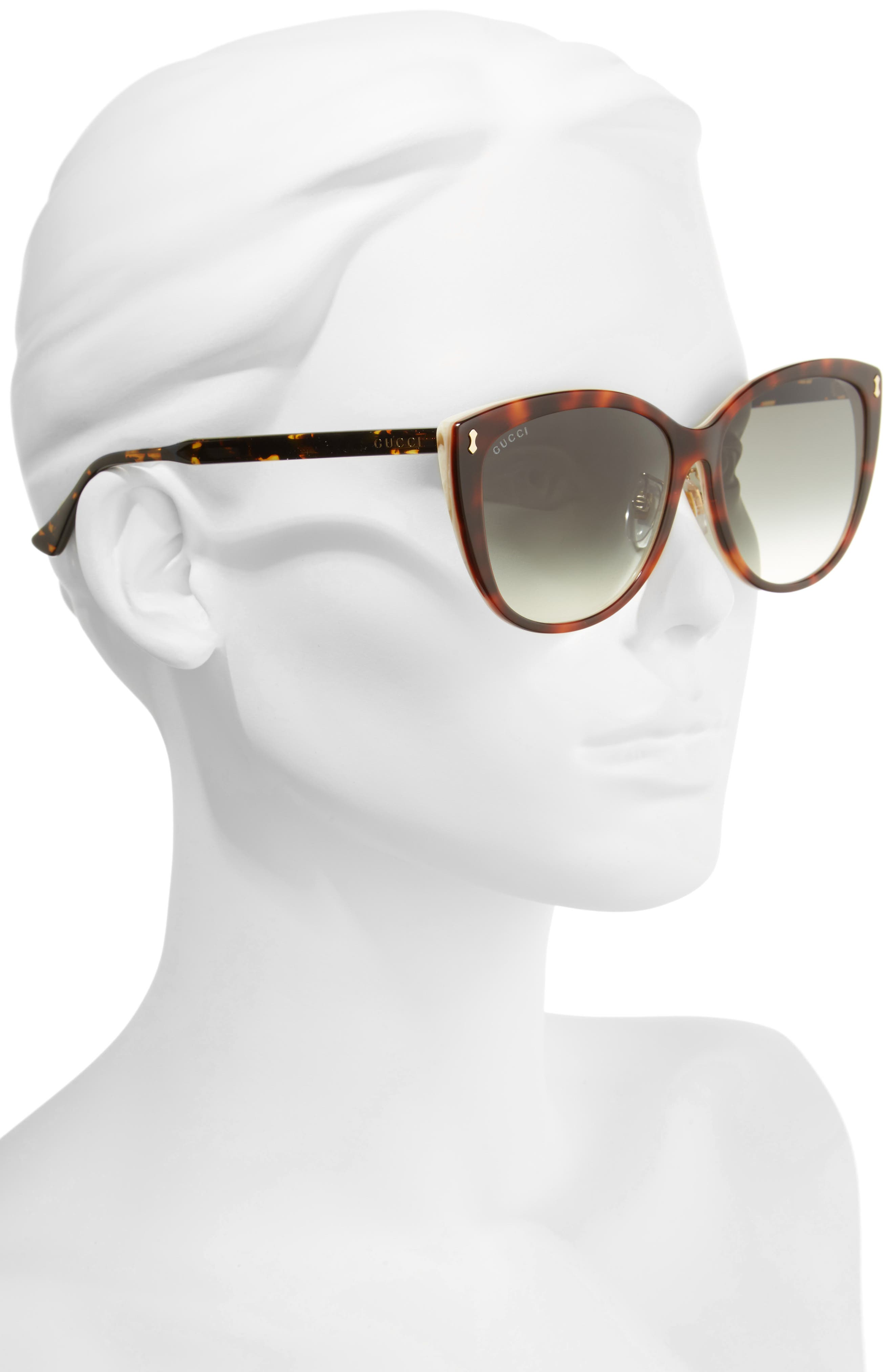 58mm Cat Eye Sunglasses,                             Alternate thumbnail 2, color,                             Havana