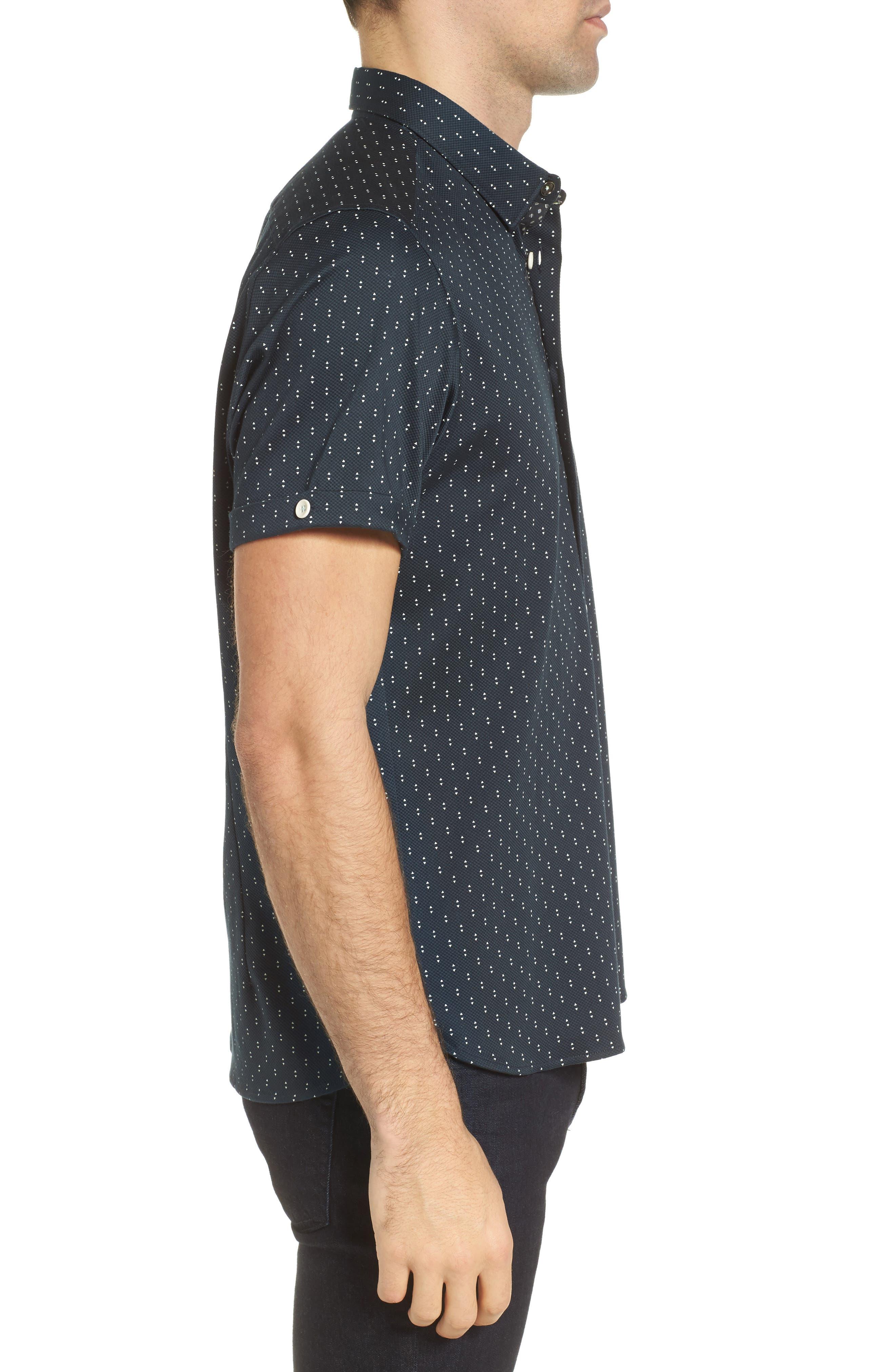 Franko Print Sport Shirt,                             Alternate thumbnail 4, color,                             Navy