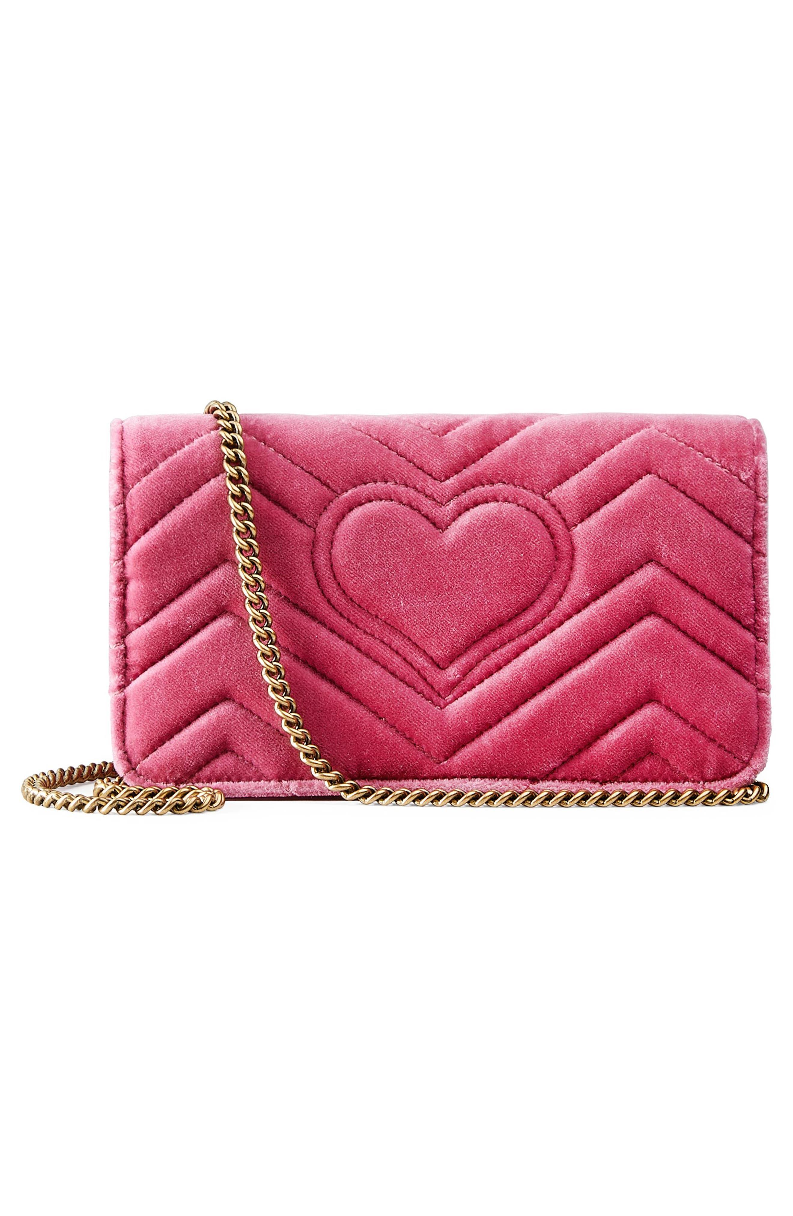 GG Marmont 2.0 Embellished Velvet Shoulder Bag,                             Alternate thumbnail 3, color,                             Light Raspberry/ Ivory