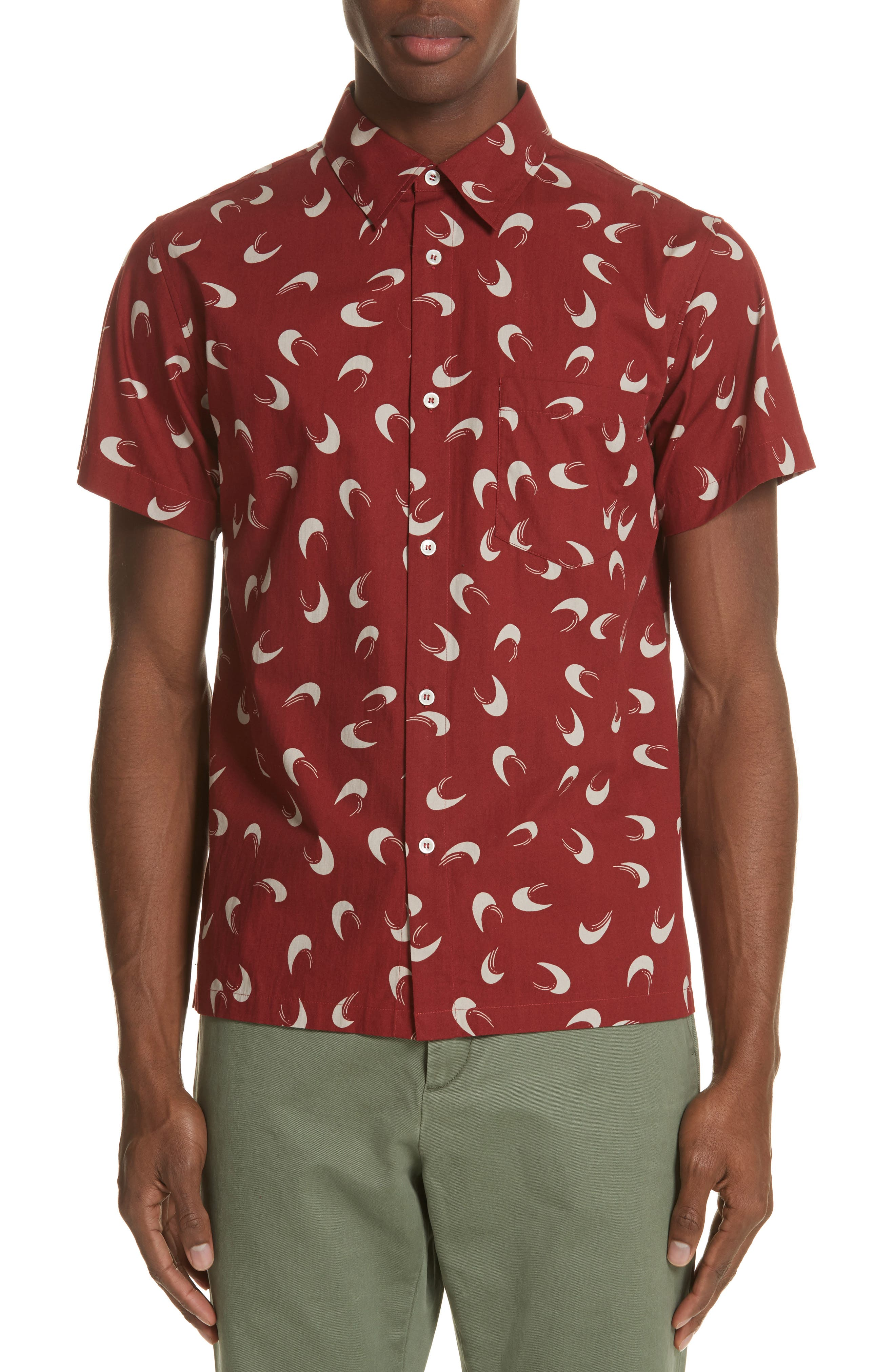 Cippi Woven Shirt,                         Main,                         color, Rouge