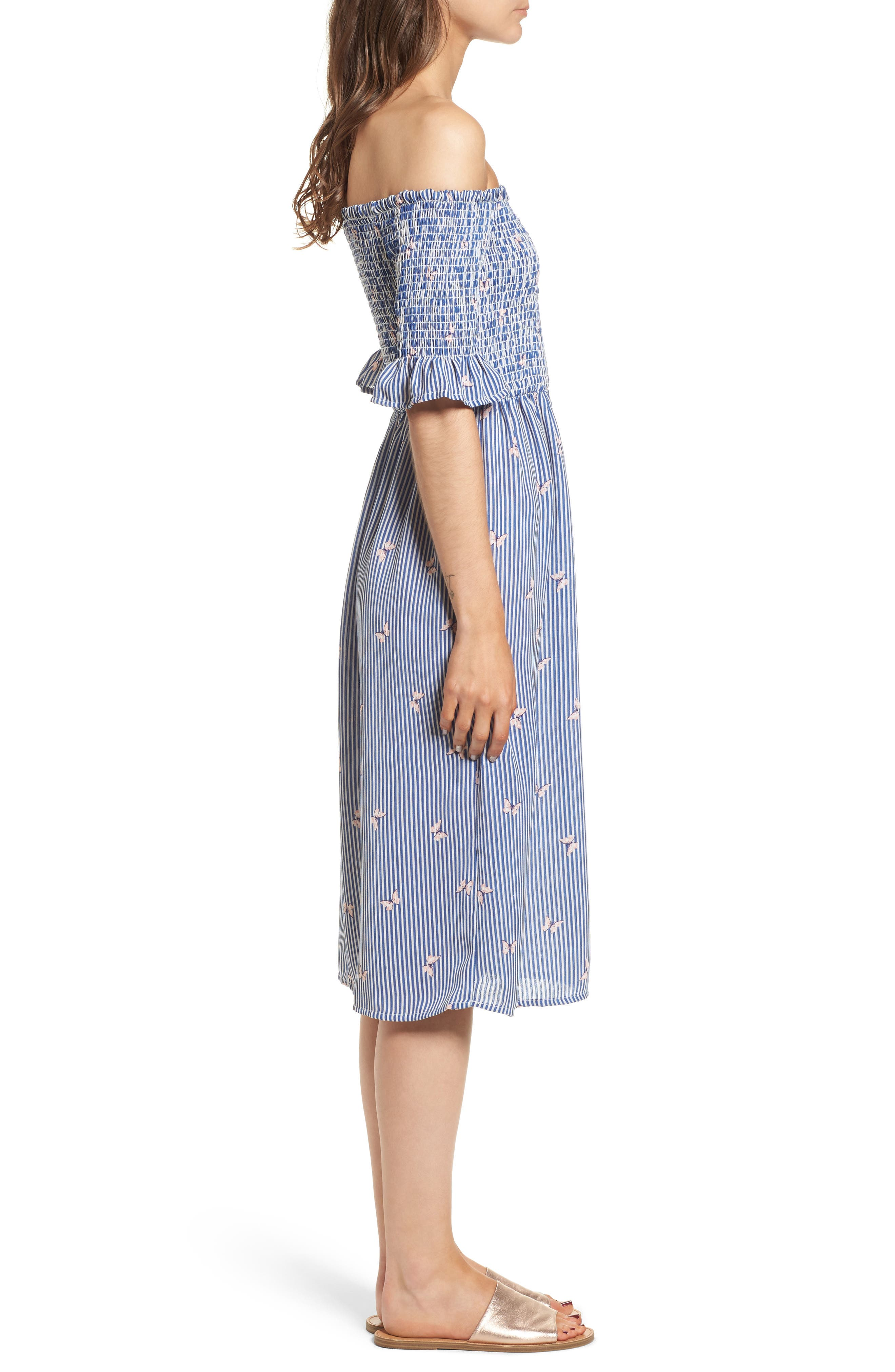 Smocked Midi Dress,                             Alternate thumbnail 3, color,                             Off White/ Blue