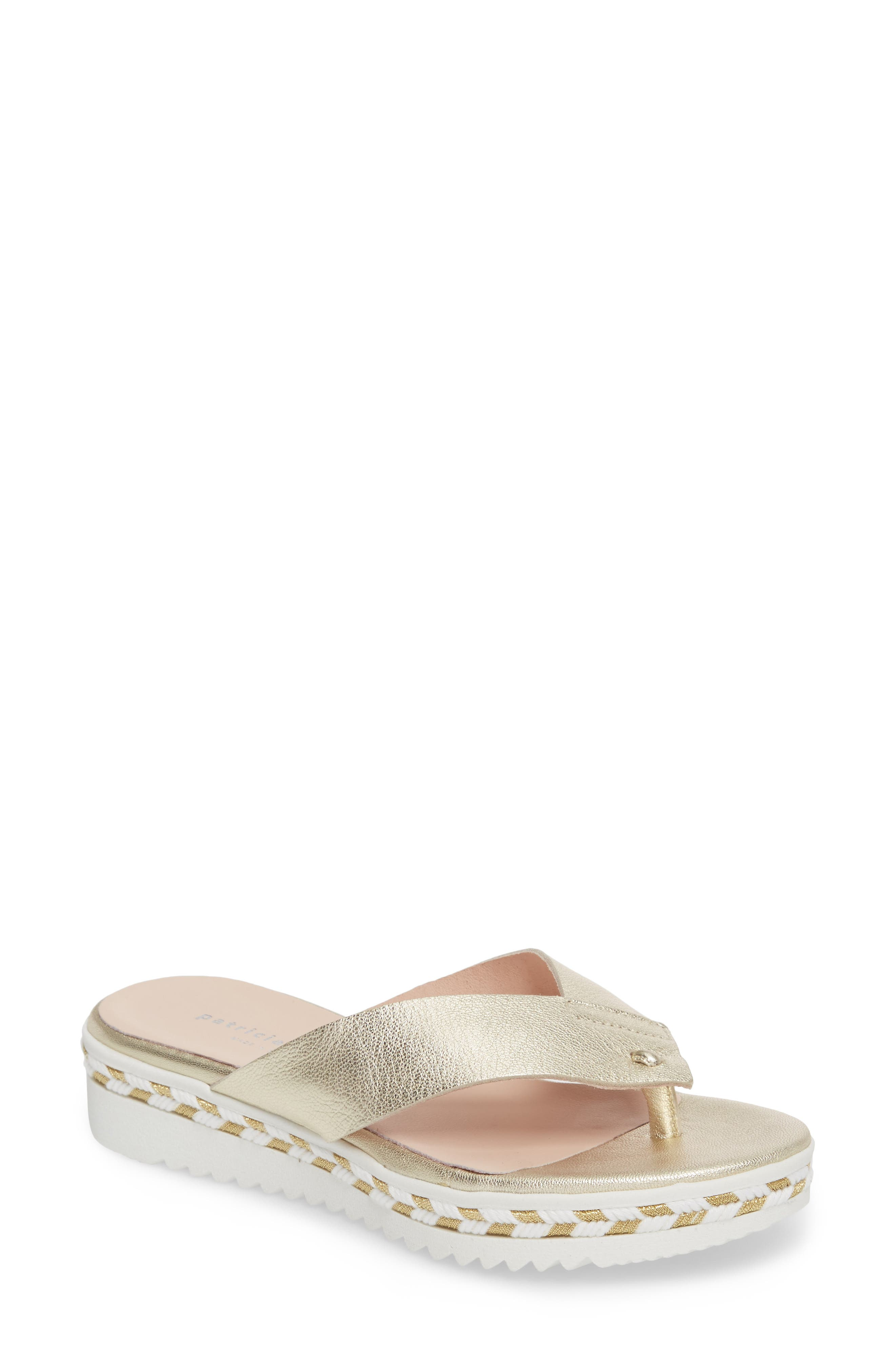 Brooklyn Wedge Flip Flop,                             Main thumbnail 1, color,                             Gold Leather