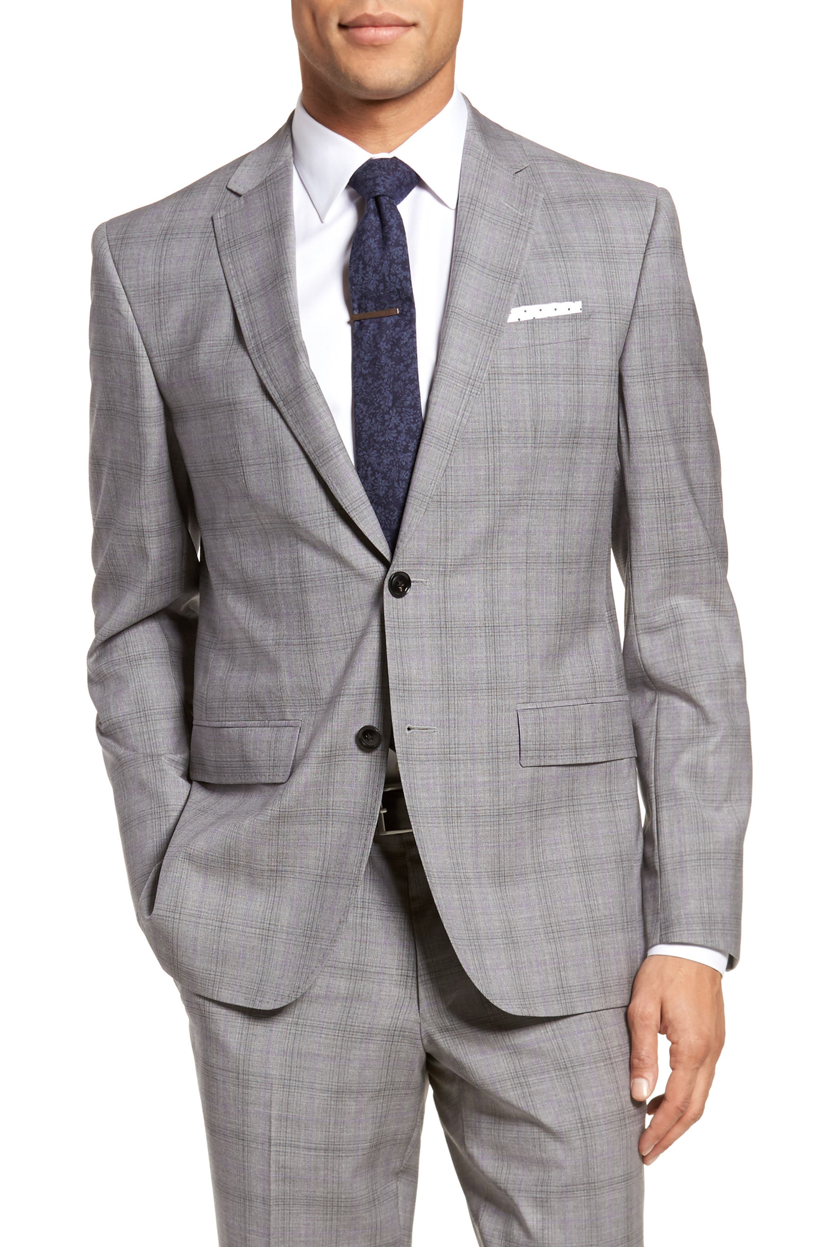 Jay Trim Fit Plaid Wool Suit,                             Alternate thumbnail 6, color,                             Light Grey