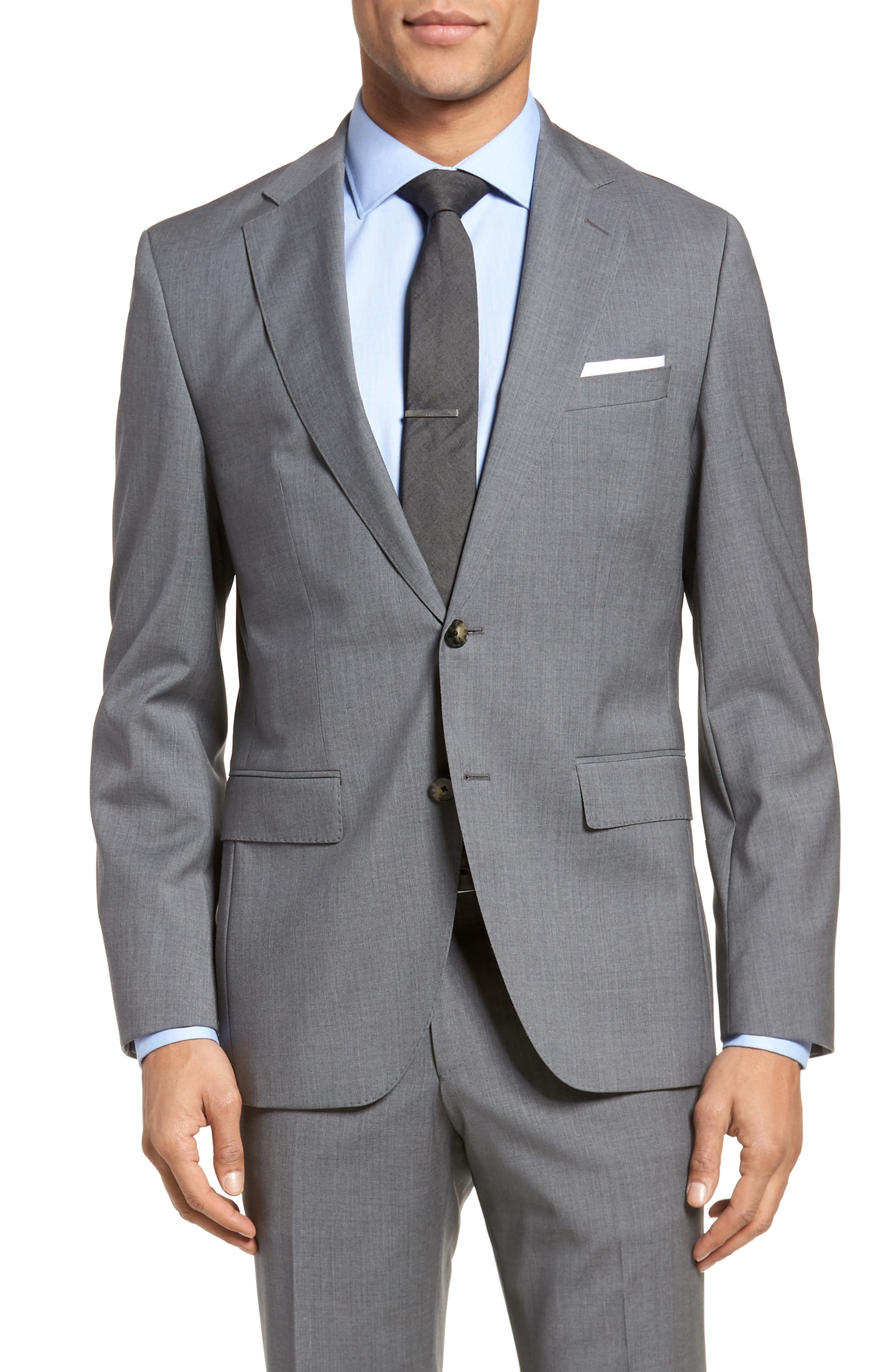 Johnstons/Lenon Classic Fit Solid Wool Suit,                             Alternate thumbnail 5, color,                             Medium Grey