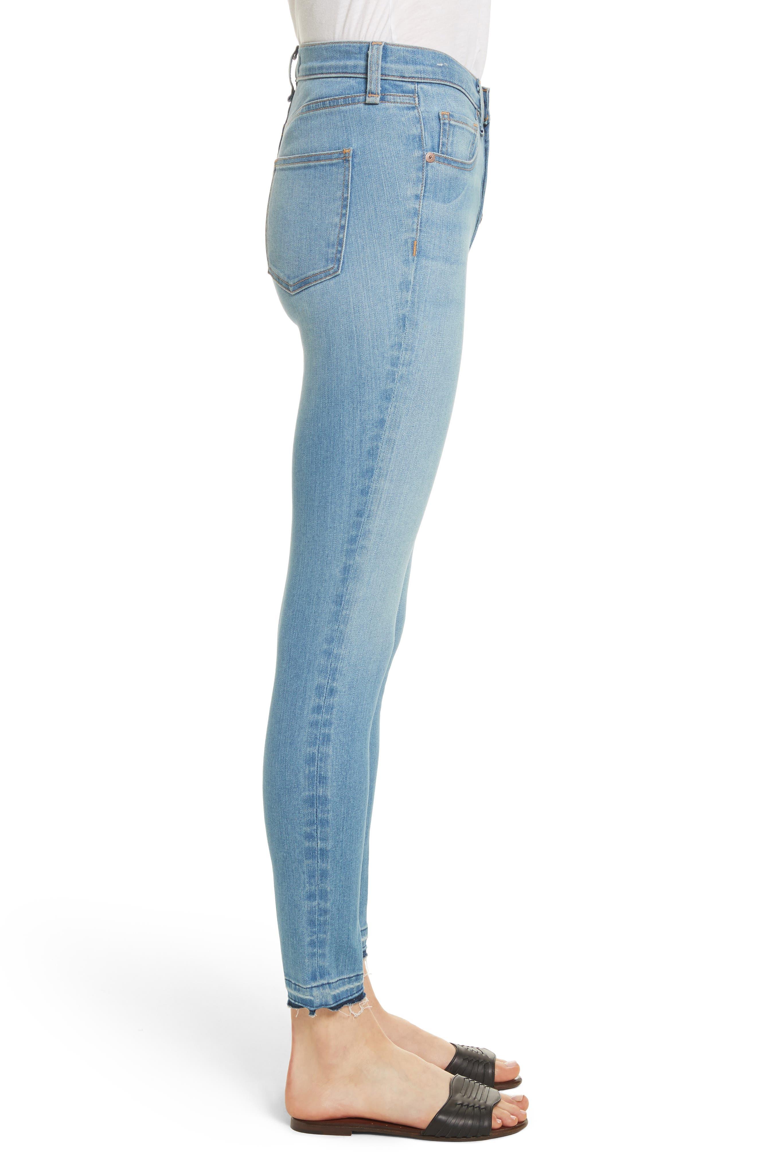 Debbie Frayed Crop Skinny Jeans,                             Alternate thumbnail 3, color,                             Ocean Blue