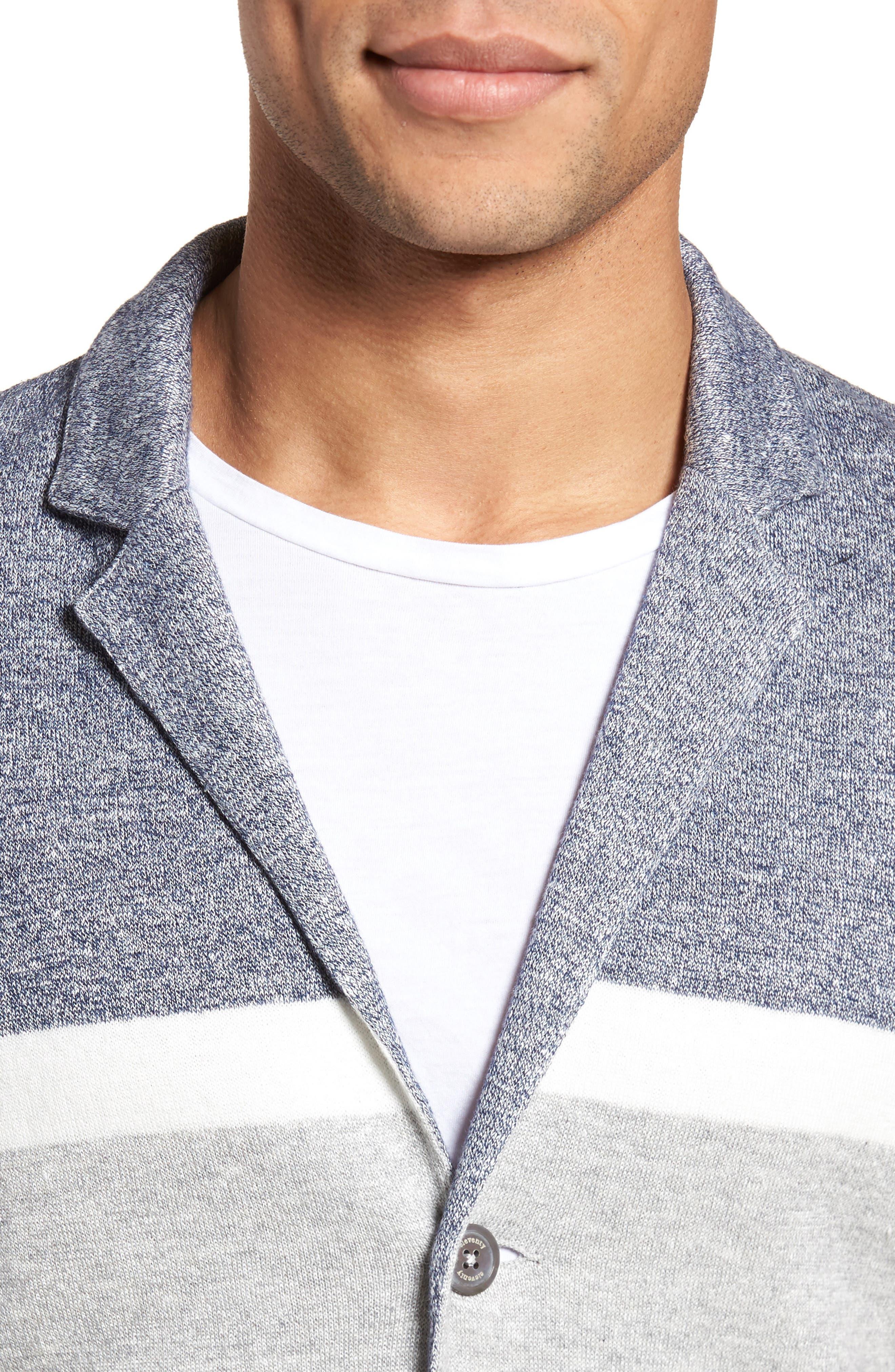 Colorblock Sweater Jacket,                             Alternate thumbnail 4, color,                             Grey