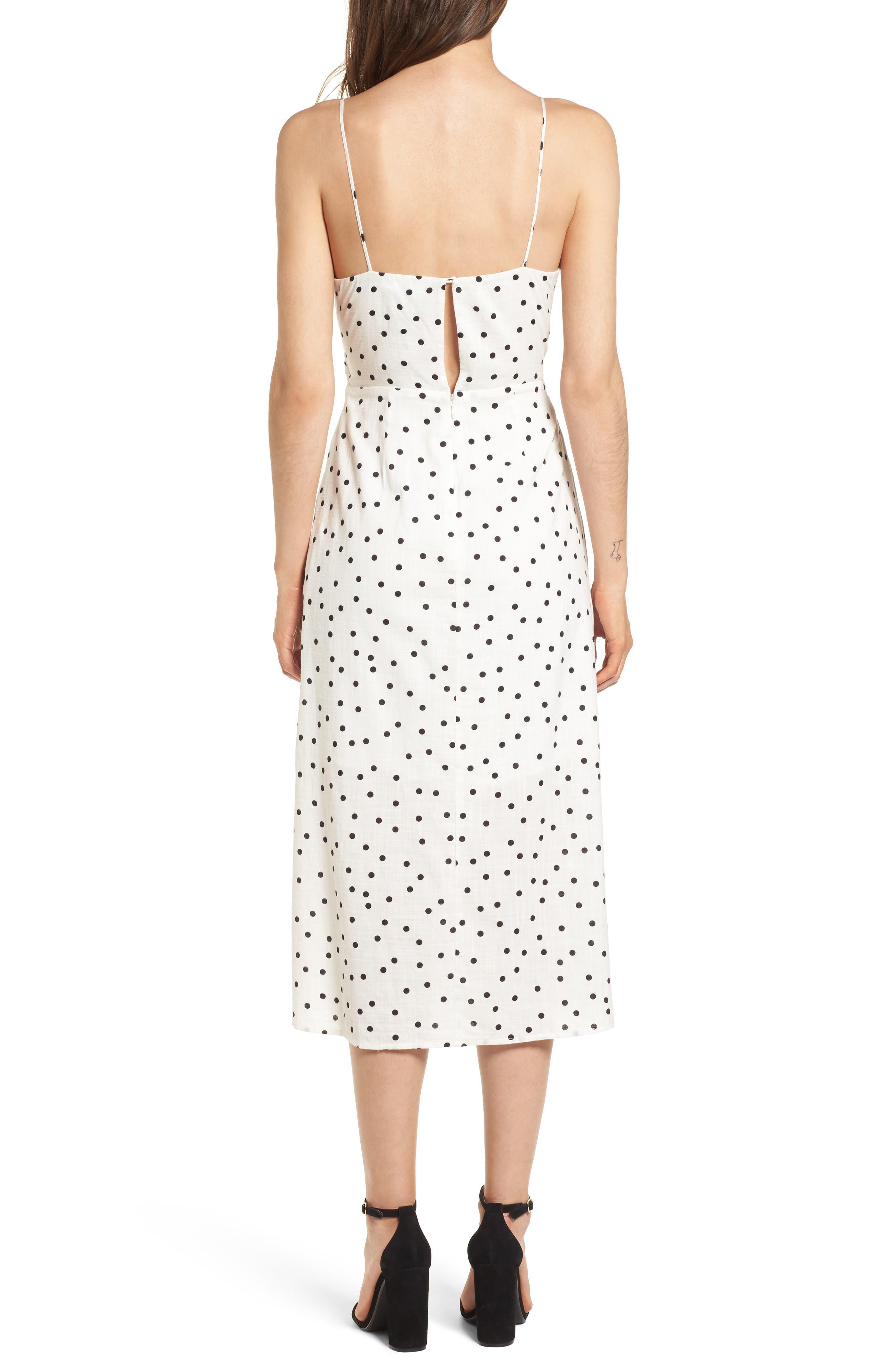 Cutout Midi Dress,                             Alternate thumbnail 2, color,                             Ivory/ Black Dot