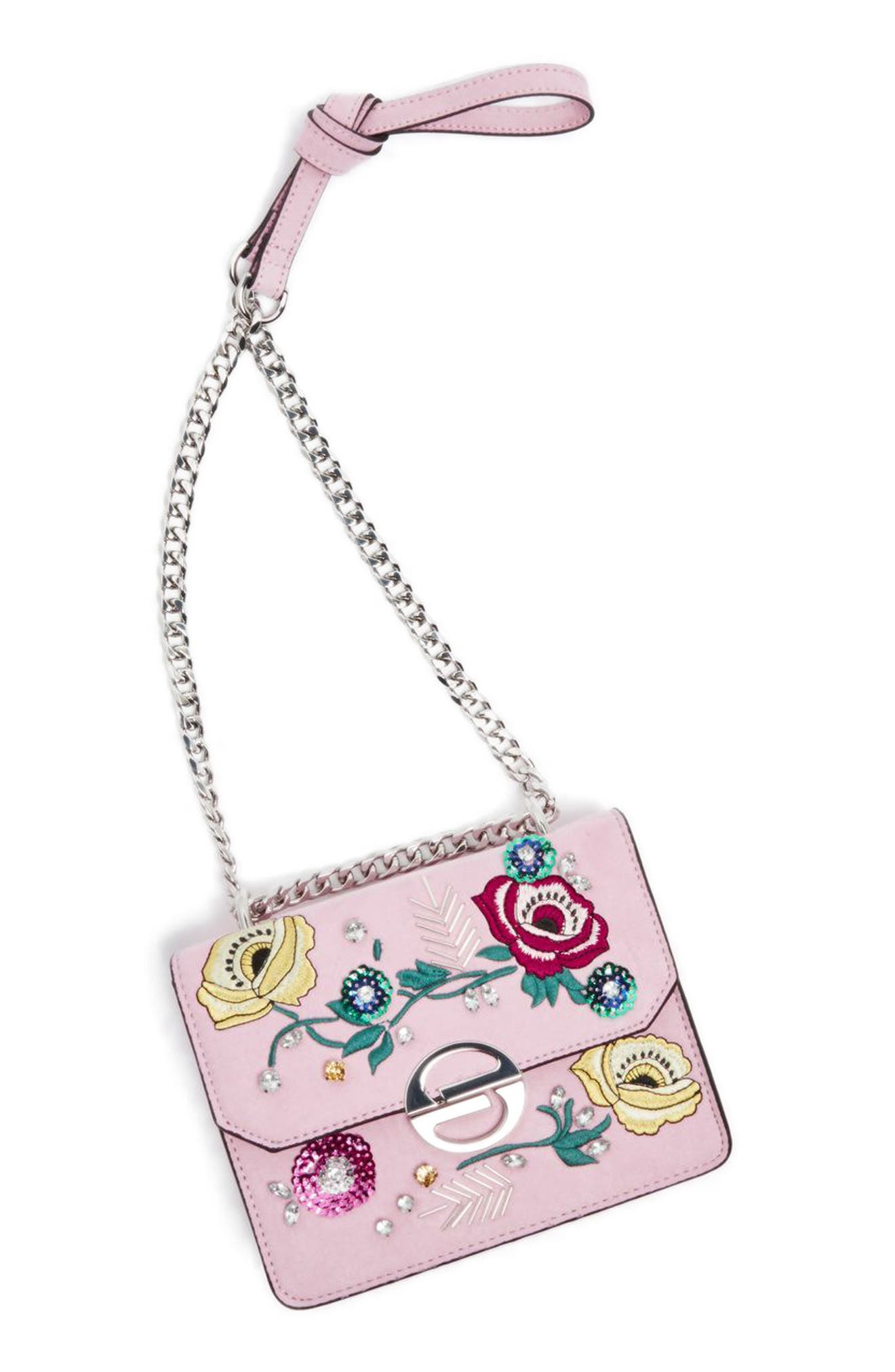 Embellished Faux Suede Crossbody Bag,                             Main thumbnail 1, color,                             Pink Multi