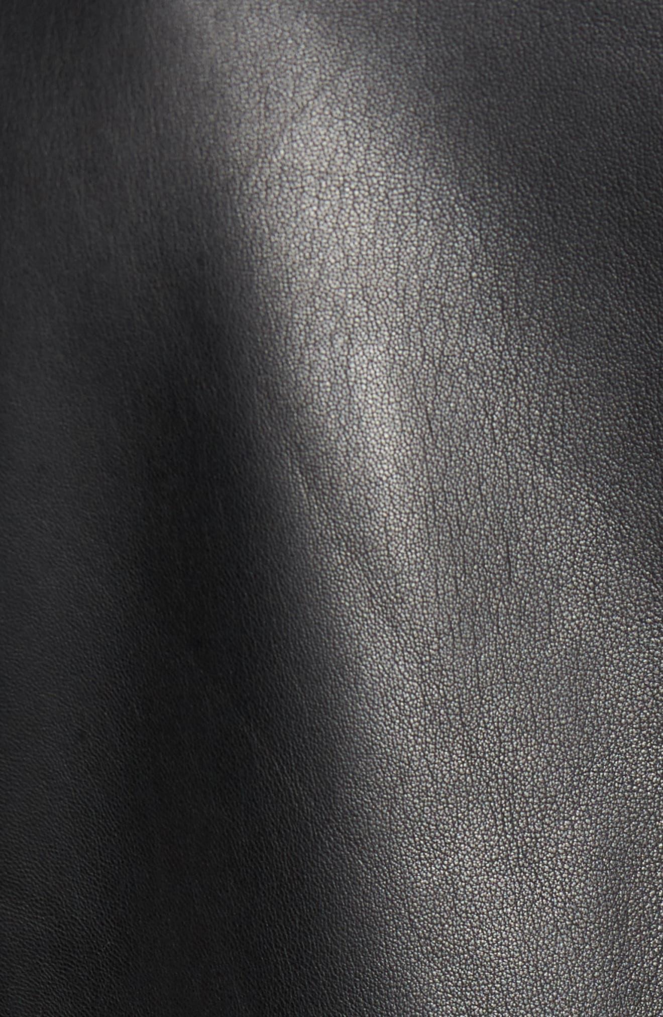 Bonded Leather Jacket,                             Alternate thumbnail 5, color,                             Black