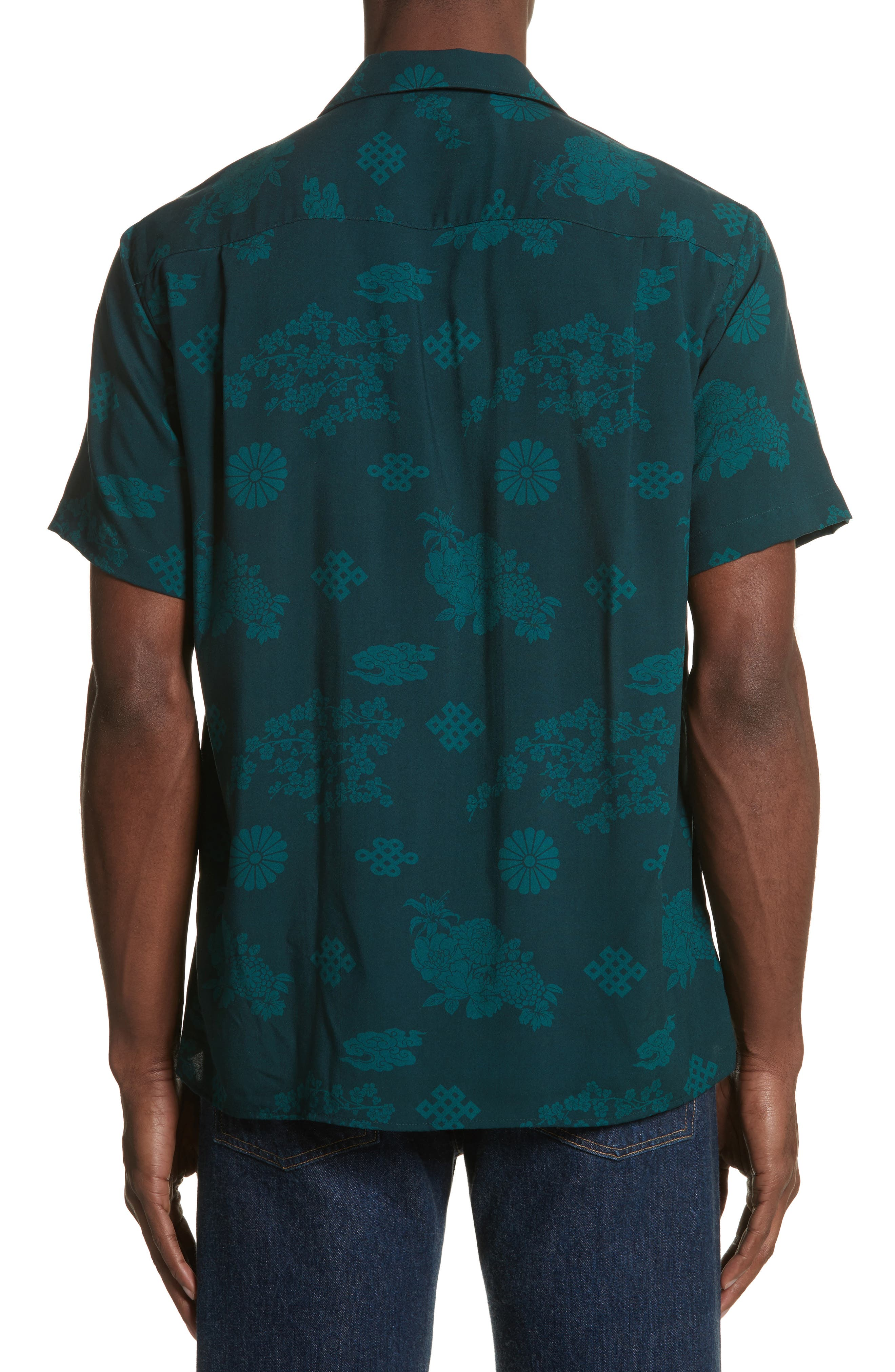 x The North Face Men's Floral Print Camp Shirt,                             Alternate thumbnail 3, color,                             Green Ground