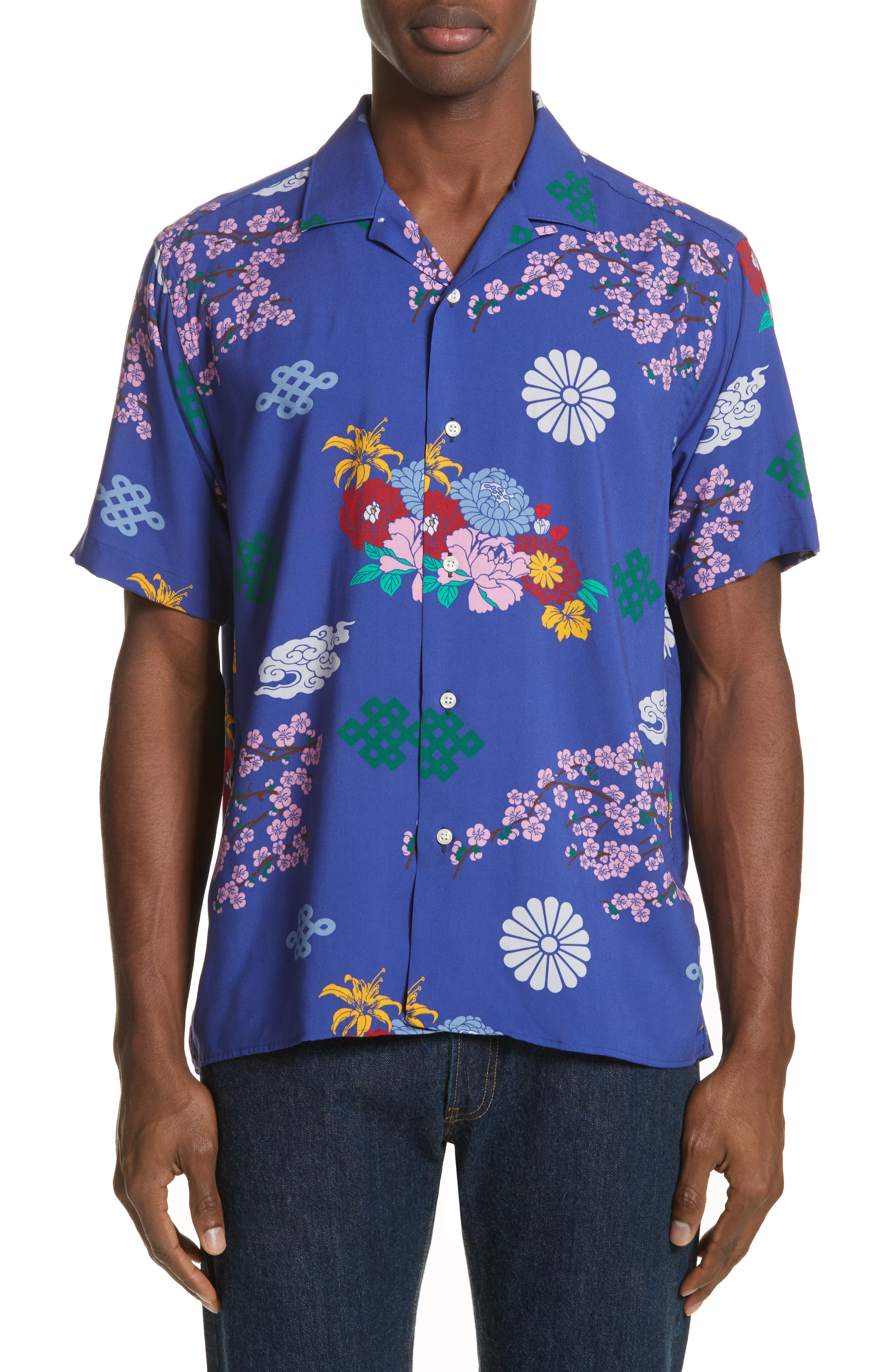 x The North Face Men's Floral Print Camp Shirt,                             Alternate thumbnail 2, color,                             Blue Ground
