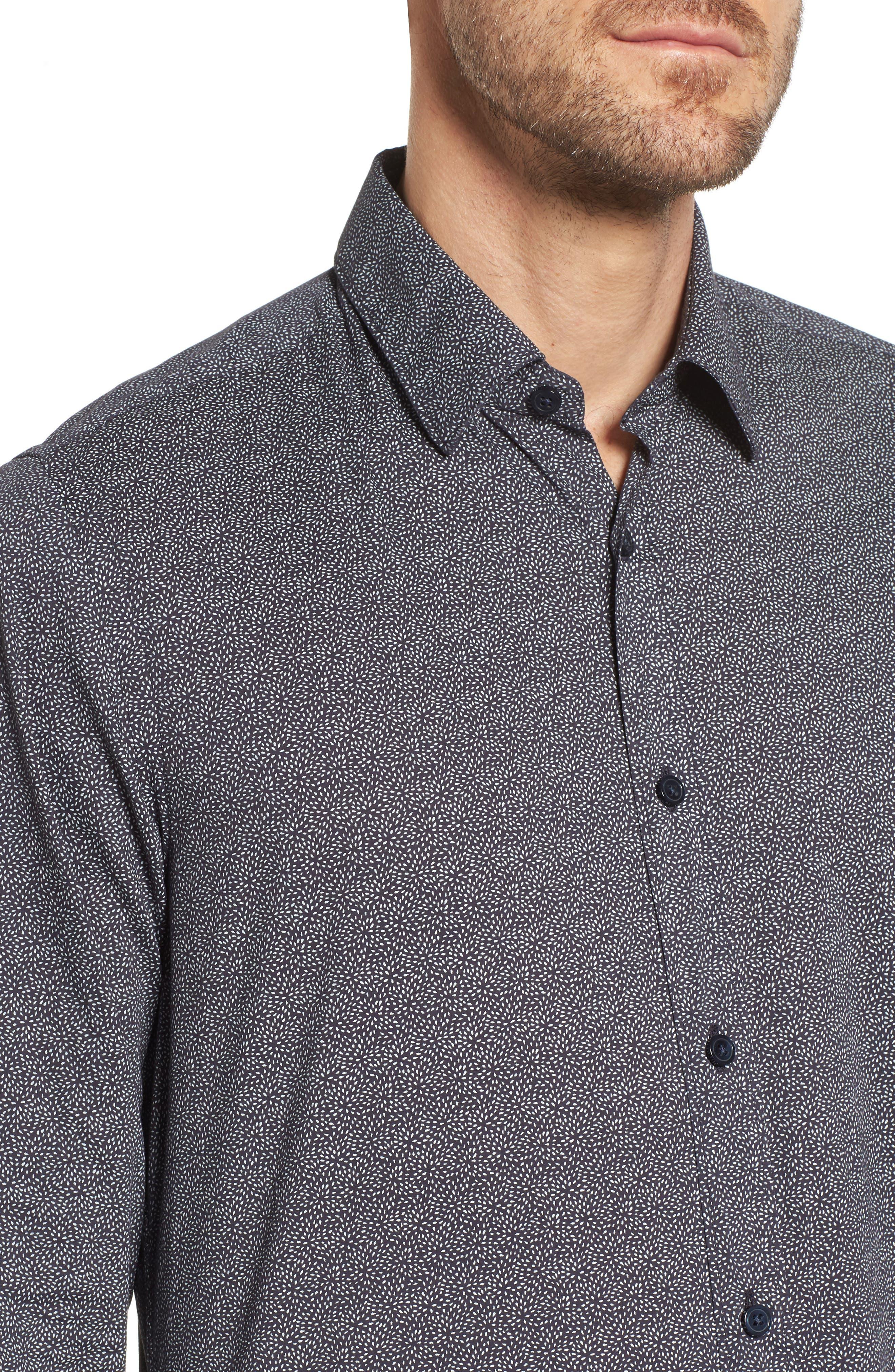 Lukas Regular Fit Print Sport Shirt,                             Alternate thumbnail 4, color,                             Blue