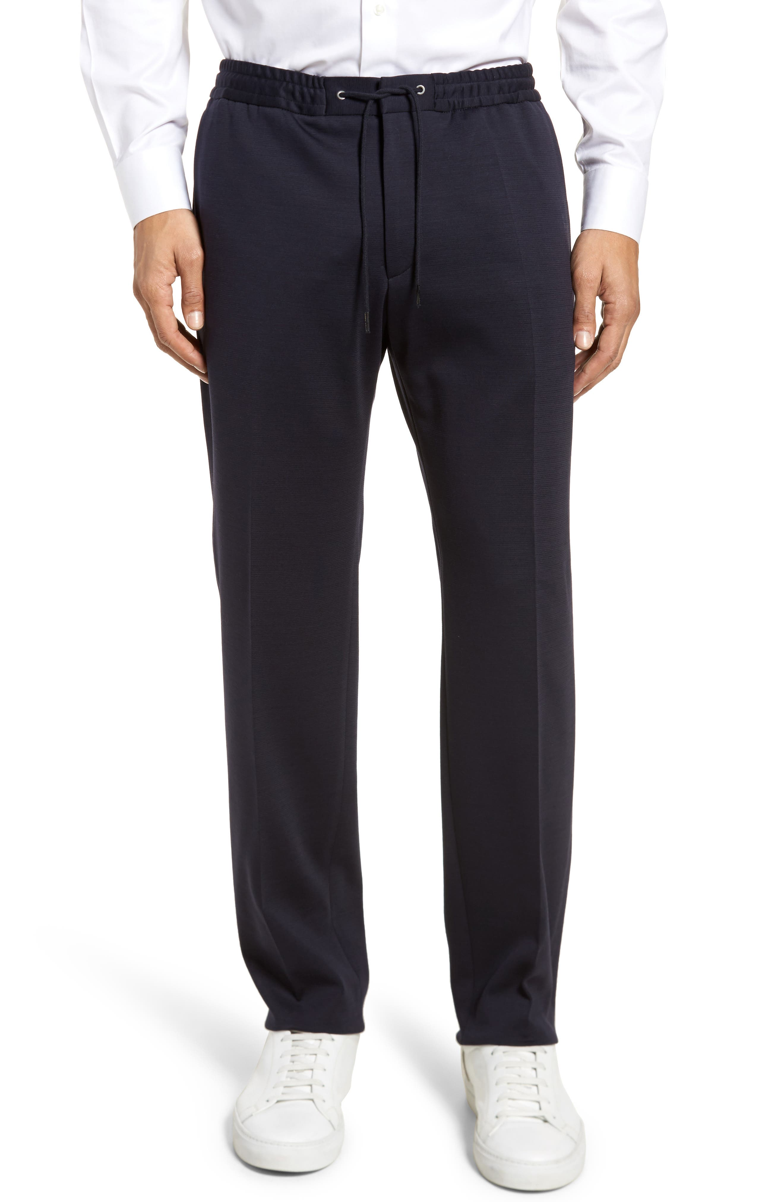 Banks Flat Front Trim Fit Wool Blend Trousers,                         Main,                         color, Navy