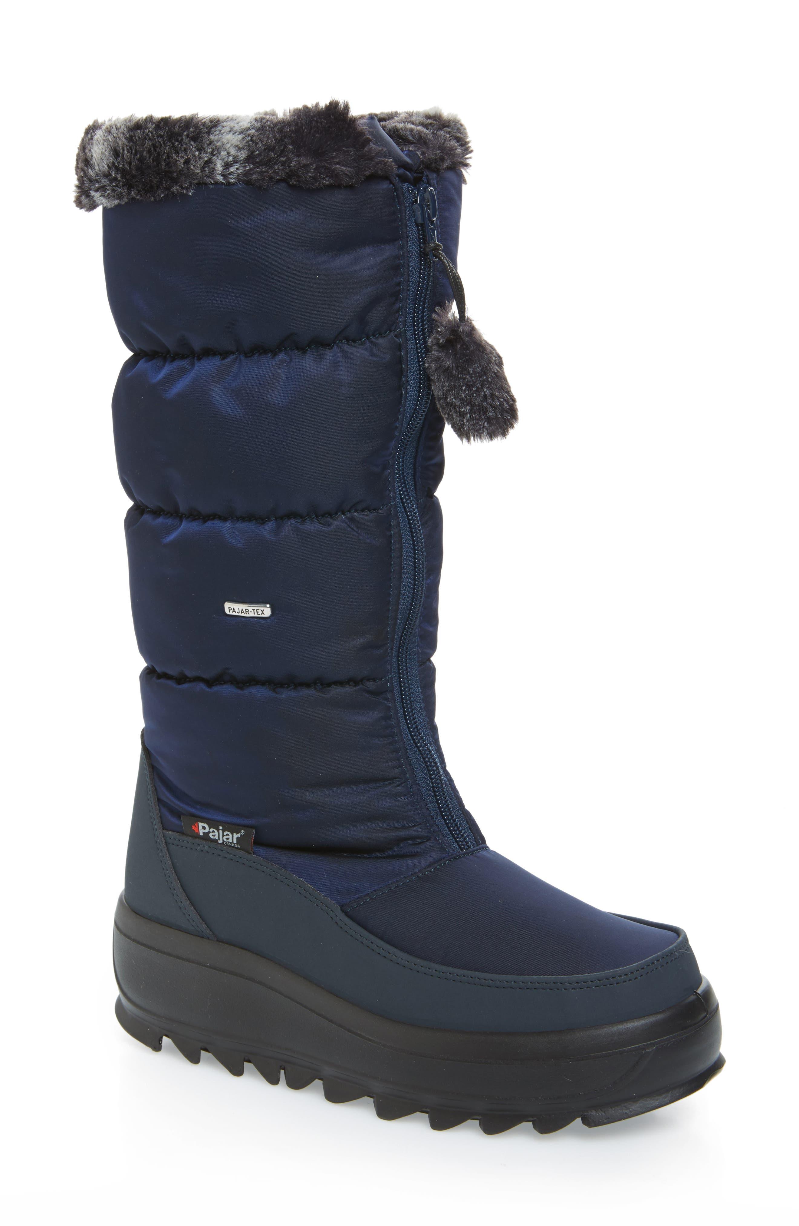 Toboggan 2 Faux Fur Trim Insulated Waterproof Boot,                         Main,                         color, Navy Fabric