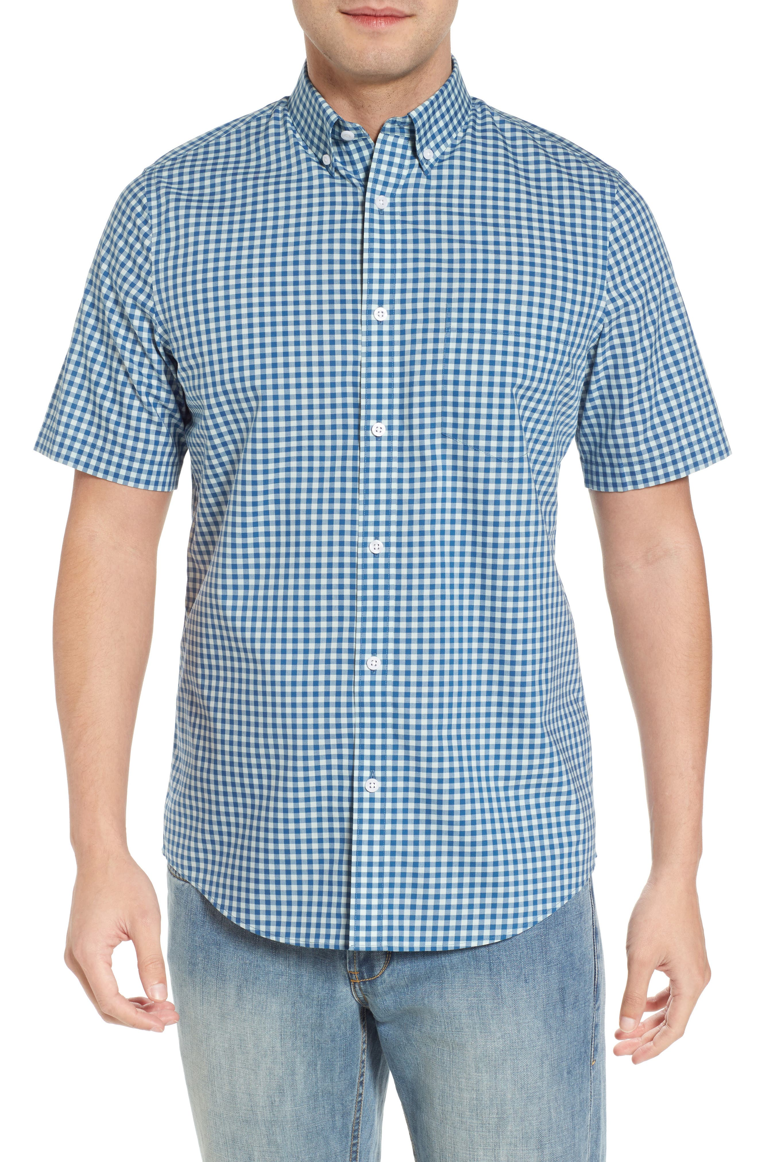 Regular Fit Gingham Sport Shirt,                             Main thumbnail 1, color,                             Teal Surf Blue Gingham