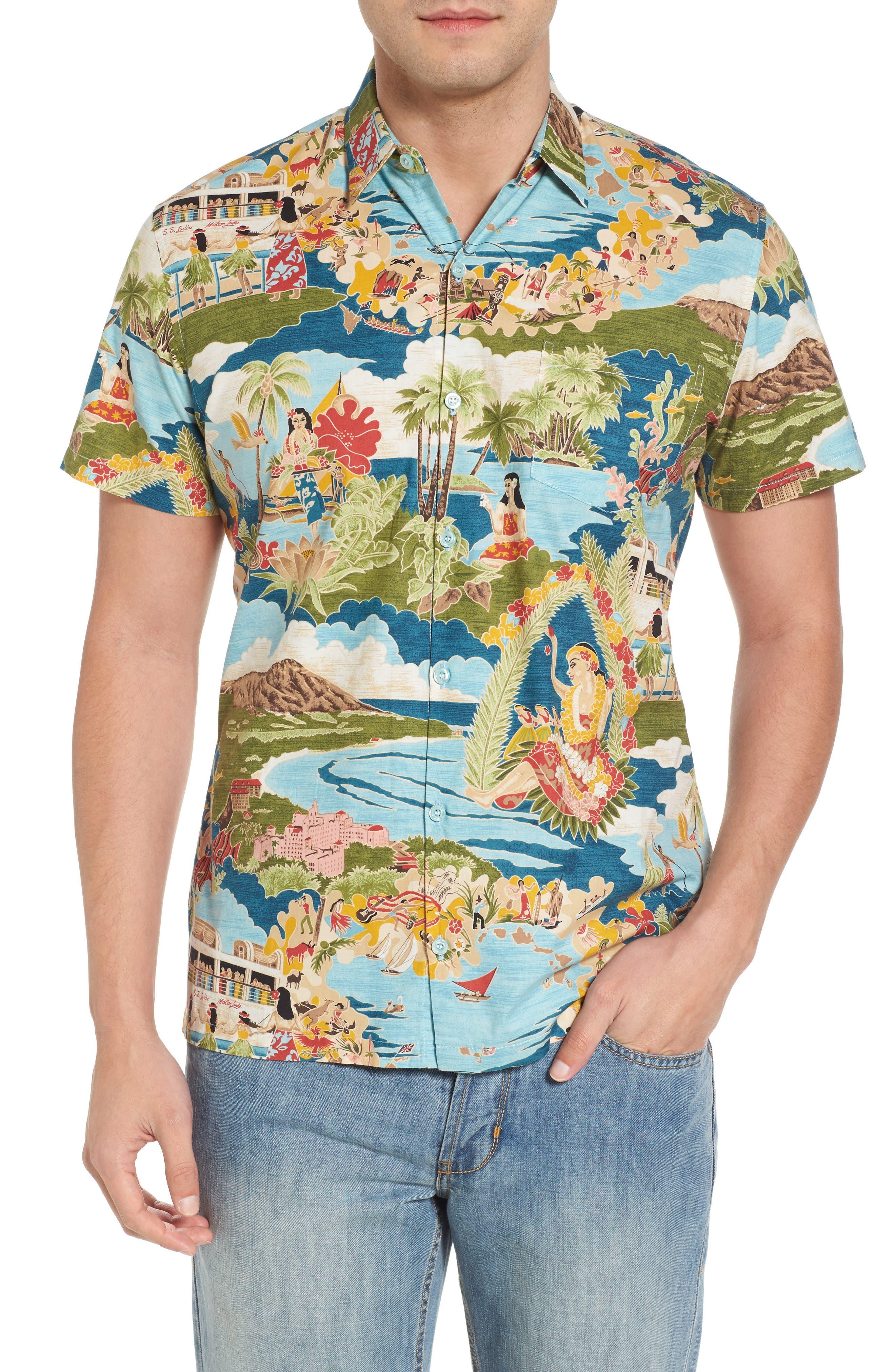 Boat Day Aloha Sport Shirt,                         Main,                         color, Lagoon